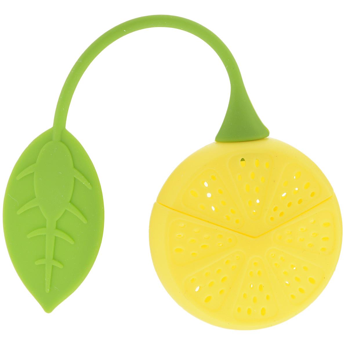 Ситечко для чая Marmiton Лимон, цвет: желтый, зеленый16138Ситечко для заваривания чая Marmiton Лимон выполнено из высококачественного силикона в виде лимона с отверстиями. Изделие оснащено силиконовой ручкой в виде листика. Ситечко оригинального яркого дизайна займет достойное место на вашей кухне. Теперь можно заваривать любимый чай быстро и легко!Размер ситечка (без учета ручки): 5 см х 5 см х 2,5 см. Длина ручки ситечка: 13 см.