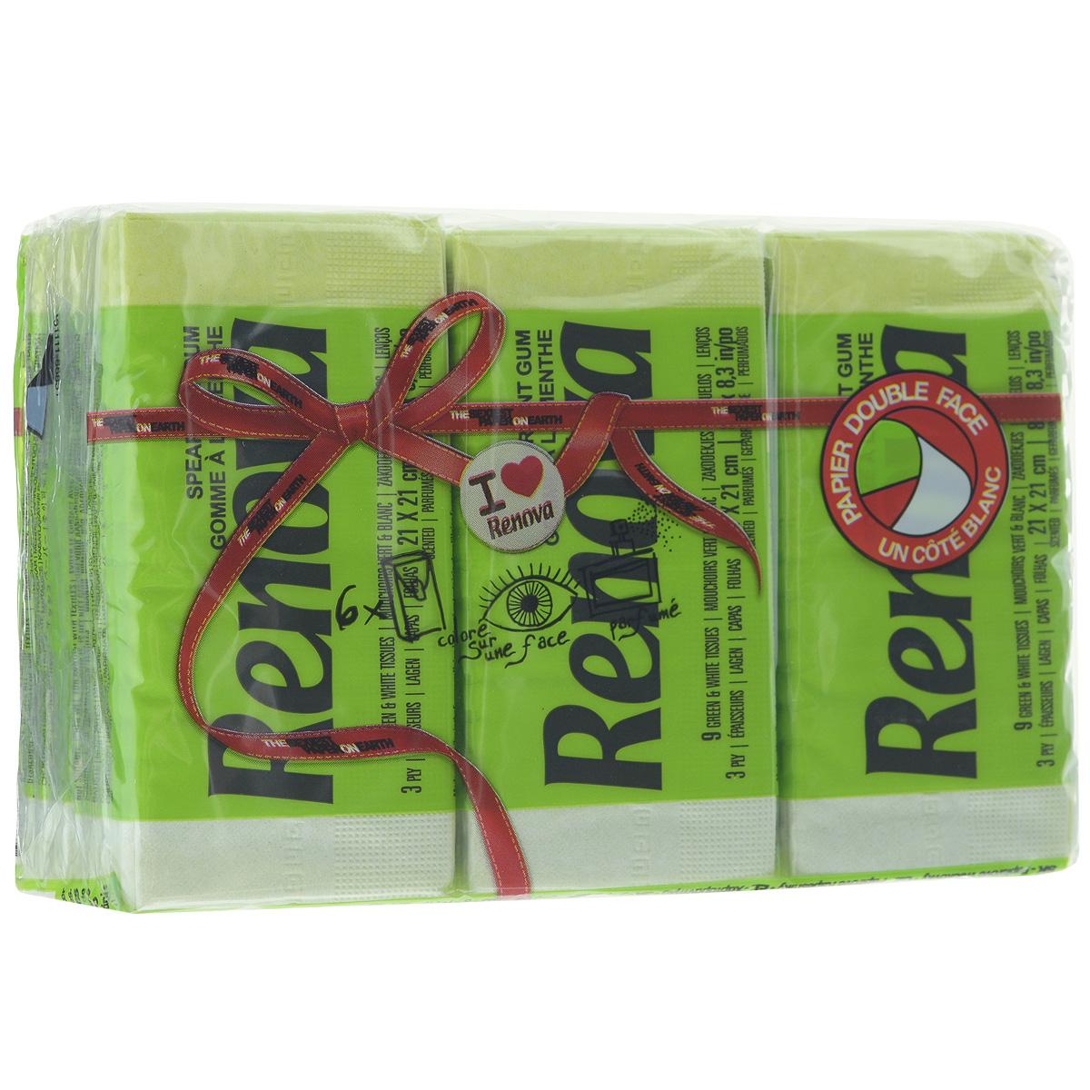 Платочки бумажные Renova Spearmint Gum, ароматизированные, трехслойные, цвет: зеленый, 6 пачек200067003Бумажные гигиенические платочки Renova Spearmint Gum,изготовленные из 100% натуральной целлюлозы, подходят для детей и взрослых. Они обладают уникальными свойствами, так как всегда остаются мягкими на ощупь, прочными и отлично впитывающими влагу и могут быть пригодными в любой ситуации. Бумажные платочки Renova Spearmint Gum имеют свежий аромат мяты. Удобная небольшая упаковка позволяет носить платочки в кармане.Количество слоев: 3.Размер листа: 21 см х 21 см.Количество пачек: 6 шт.Количество платочков в каждой пачке: 9 шт.Португальская компания Renova является ведущим разработчиком новейших технологий производства, нового стиля и направления на рынке гигиенической продукции. Современный дизайн и высочайшее качество, дерматологический контроль - это то, что выделяет компанию Renova среди других производителей бумажной санитарно-гигиенической продукции.