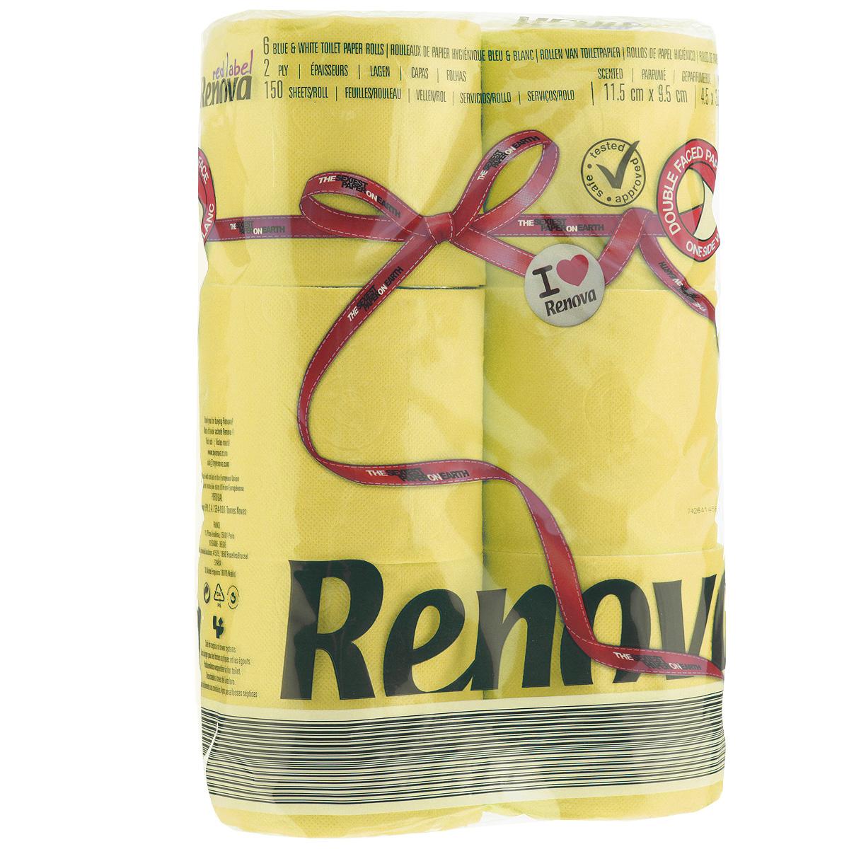 Туалетная бумага Renova, двухслойная, ароматизированная, цвет: желтый, 6 рулонов200066927Туалетная бумага Renova изготовлена по новейшей технологии из 100% ароматизированной целлюлозы, благодаря чему она имеет тонкий аромат, очень мягкая, нежная, но в тоже время прочная. Эксклюзивная двухсторонняя туалетная бумага Renova  экстрамодного цвета, придаст вашему туалету оригинальность. Состав: 100% ароматизированная целлюлоза.Количество листов: 150 шт. Количество слоев: 2. Размер листа: 11,5 см х 9,5 см. Количество рулонов: 6 шт. Португальская компания Renova является ведущим разработчиком новейших технологий производства, нового стиля и направления на рынке гигиенической продукции.Современный дизайн и высочайшее качество, дерматологический контроль - это то, что выделяет компанию Renova среди других производителей бумажной санитарно-гигиенической продукции.
