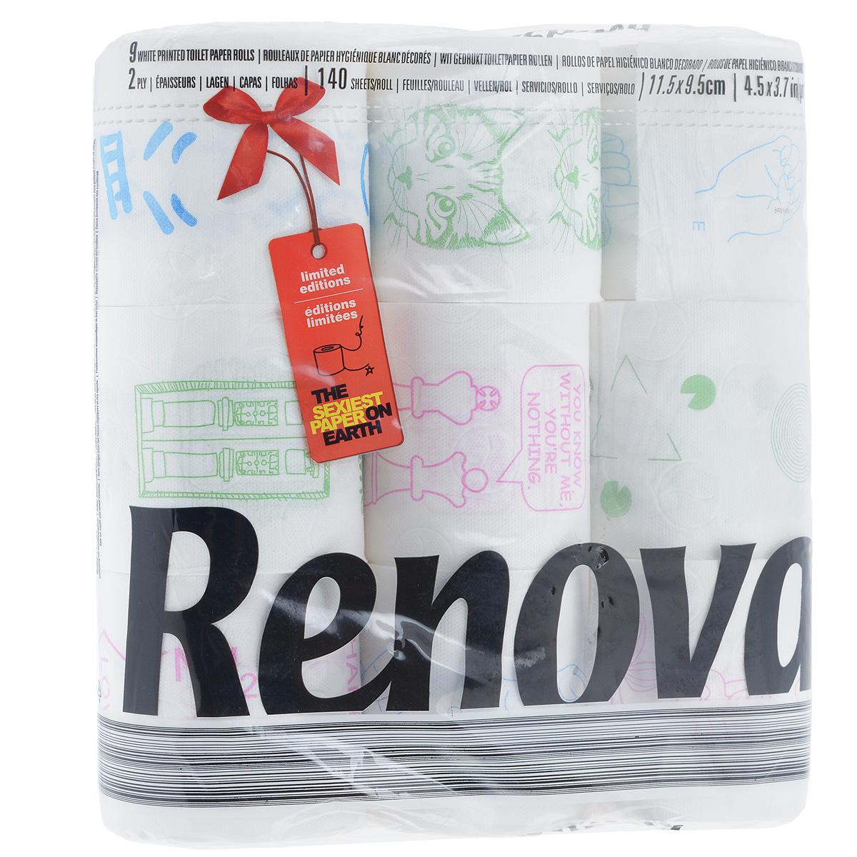 Туалетная бумага Renova Design, двухслойная, цвет: белый, 9 рулонов200063133Туалетная бумага Renova Design изготовлена по новейшей технологии из 100% целлюлозы, благодаря чему она очень мягкая, нежная, но в тоже время прочная. Перфорация надежно скрепляет слои бумаги. Туалетная бумага Renova Design сочетает в себе простоту и оригинальность. На каждом листе туалетной бумаге разное цветное изображение.Состав: 100% целлюлоза. Количество листов: 140 шт.Количество слоев: 2.Размер листа: 11,5 см х 9,5 см.Количество рулонов: 9 шт.Португальская компания Renova является ведущим разработчиком новейших технологий производства, нового стиля и направления на рынке гигиенической продукции. Современный дизайн и высочайшее качество, дерматологический контроль - это то, что выделяет компанию Renova среди других производителей бумажной санитарно-гигиенической продукции.