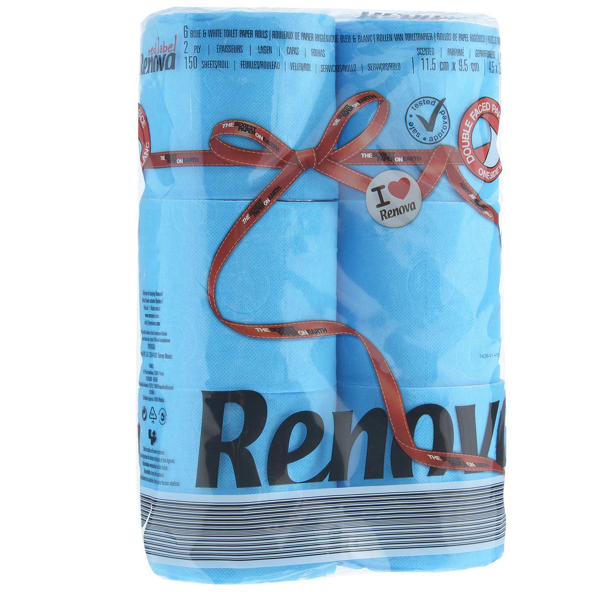 Туалетная бумага Renova, двухслойная, ароматизированная, цвет: голубой, 6 рулонов200066930Туалетная бумага Renova изготовлена по новейшей технологии из 100% ароматизированной целлюлозы, благодаря чему она имеет тонкий аромат, очень мягкая, нежная, но в тоже время прочная. Эксклюзивная двухсторонняя туалетная бумага Renova  экстрамодного цвета, придаст вашему туалету оригинальность. Состав: 100% ароматизированная целлюлоза.Количество листов: 150 шт. Количество слоев: 2. Размер листа: 11,5 см х 9,5 см. Количество рулонов: 6 шт. Португальская компания Renova является ведущим разработчиком новейших технологий производства, нового стиля и направления на рынке гигиенической продукции.Современный дизайн и высочайшее качество, дерматологический контроль - это то, что выделяет компанию Renova среди других производителей бумажной санитарно-гигиенической продукции.