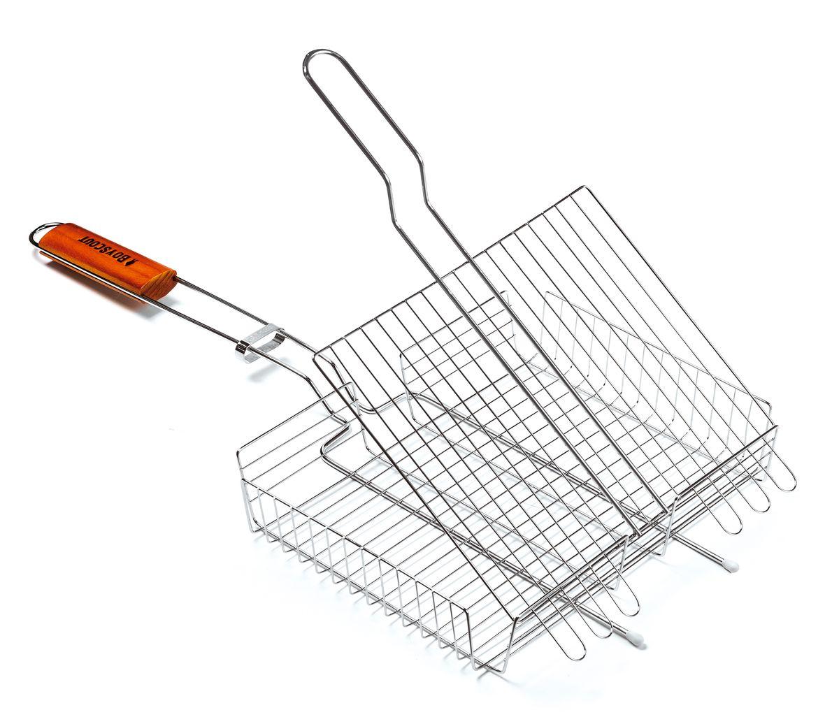 Решетка-гриль Boyscout, универсальная, 30 см х 25 см61302Решетка-гриль Boyscout предназначена для приготовления мяса, рыбы, птицы, овощей на открытом воздухе. Изготовлена из высококачественной стали с пищевым хромированным покрытием. Идеально подходит для мангалов и барбекю.Решетка имеет широкое фиксирующее кольцо на ручке, что обеспечивает надежную фиксацию. Специальная деревянная рукоятка предохраняет от ожогов, а также удобна для обхвата двумя руками, что позволяет легко переворачивать решетку.Размер решетки: 30 см x 25 см.Высота решетки: 4,5 см.
