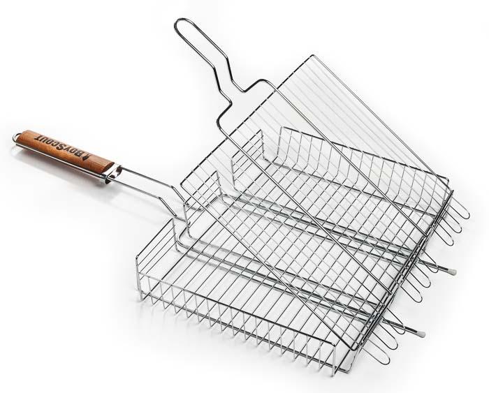 Решетка-гриль Boyscout универсальная, 42 см х 31 см61304Решетка-гриль Boyscout предназначена для приготовления мяса, рыбы, птицы, овощей на открытом воздухе. Изготовлена из высококачественной стали с антипригарным покрытием. Идеально подходит для мангалов и барбекю.Решетка имеет широкое фиксирующее кольцо на ручке, что обеспечивает надежную фиксацию. Специальная деревянная ручка предохраняет руки от ожогов, а также удобна для обхвата двумя руками, что позволяет легко переворачивать решетку.Длина ручки: 30 см.Размер решетки: 42 см х 6 см х 31 см.