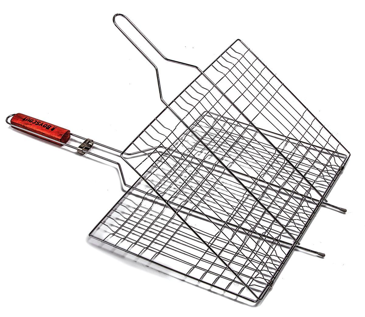 Решетка-гриль Boyscout, с антипригарным покрытием, 67 см х 40 см х 2,5 см + ПОДАРОК: Веер для розжига Boyscout61312Решетка-гриль Boyscout предназначена для приготовления пищи на открытом воздухе. Изготовлена из высококачественной стали с антипригарным покрытием. Решетка имеет деревянную вставку на ручке, предохраняющую руки от ожогов и позволяющую без труда перевернуть решетку. Надежное кольцо-фиксатор гарантирует, что решетка не откроется, и продукты не выпадут.Приготовление вкусных блюд из рыбы, мяса или птицы на пикнике становится еще более быстрым и удобным с использованием решетки-гриль. К решетке прилагается подарок - веер для розжига, выполненный из плотного картона.Размер рабочей поверхности: 40 см х 30 см х 2,5 смДлина ручки: 32 смРазмер веера: 21 см х 15 см х 0,5 см.