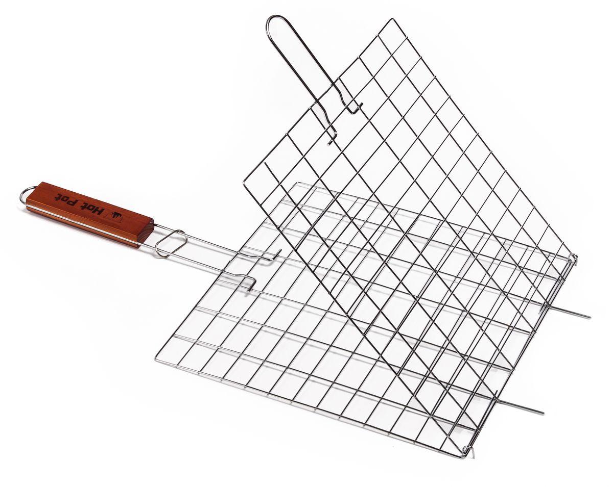 Решетка-гриль Hot Pot, универсальная, 54 см х 28 см х 1 см61333Решетка-гриль Hot Pot предназначена для приготовления пищи на открытом воздухе. Изготовлена из высококачественной стали с пищевым хромированным покрытием. Решетка имеет деревянную вставку на ручке, предохраняющую руки от ожогов и позволяющую без труда перевернуть решетку. Надежное кольцо-фиксатор гарантирует, что решетка не откроется, и продукты не выпадут.Приготовление вкусных блюд из рыбы, мяса или птицы на пикнике становится еще более быстрым и удобным с использованием решетки-гриль. Размер рабочей поверхности: 28 см х 28 см х 1 см.Длина ручки: 22 см.