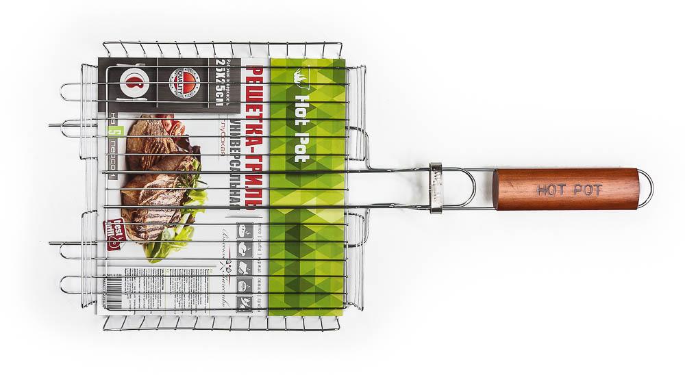 Решетка-гриль Hot Pot, универсальная, 25 х 25 х 4 см61338Решетка-гриль Hot Pot предназначена для приготовления пищи на открытом воздухе. Изготовлена из высококачественной стали с пищевым хромированным покрытием. Решетка имеет деревянную вставку на ручке, предохраняющую руки от ожогов и позволяющую без труда перевернуть решетку. Надежное кольцо-фиксатор гарантирует, что решетка не откроется, и продукты не выпадут.Приготовление вкусных блюд из рыбы, мяса или птицы на пикнике становится еще более быстрым и удобным с использованием решетки-гриль. Размер рабочей поверхности: 25 см х 25 см х 4 см.Длина ручки: 20 см.