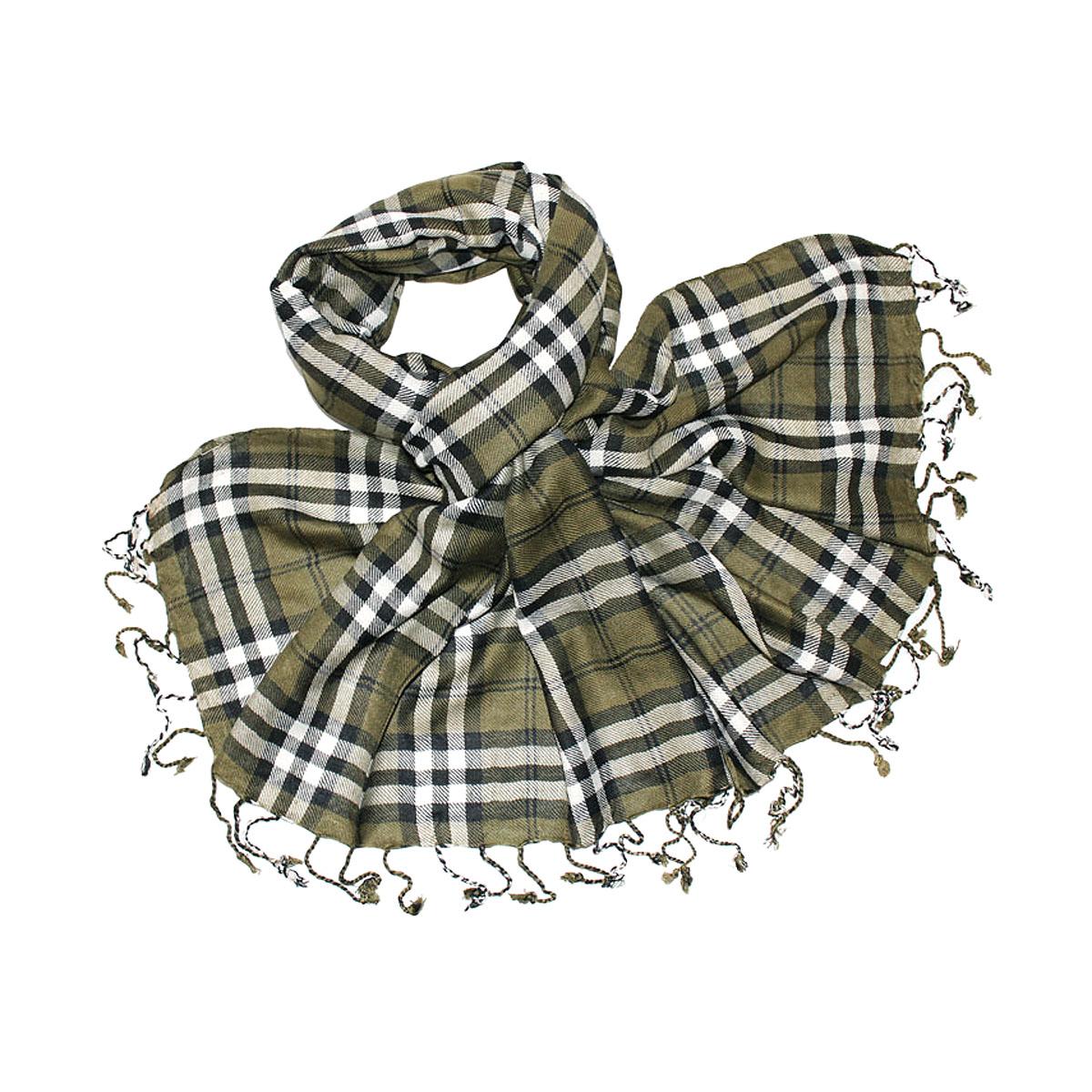 Купить Палантин Ethnica, цвет: хаки, белый, черный. 442075н. Размер 180 см х 70 см