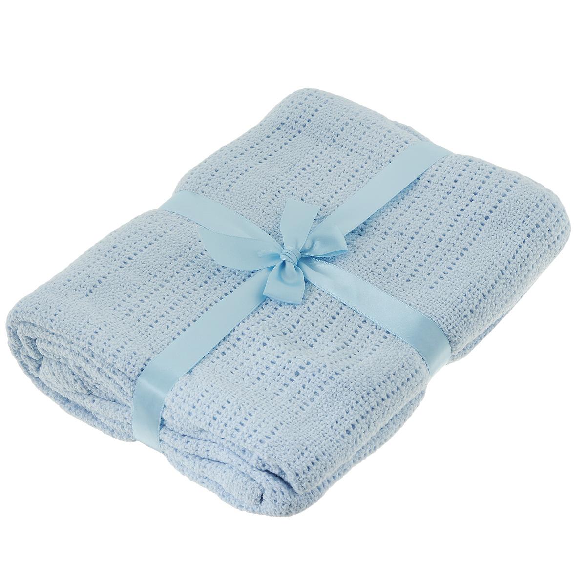 Одеяло детское Baby Nice, вязаное, цвет: голубой, 90 см x 120 смD30612