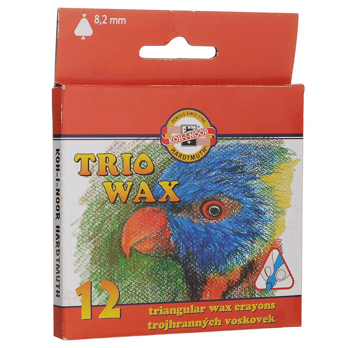 Пастель восковая Koh-i-Noor Trio Wax, трехгранная, 12 цветов карандаши восковые мелки пастель koh i noor карандаш двухцветный красно синий