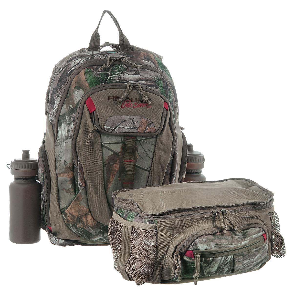 """Охотничий рюкзак Fieldline """"Big Game Backpack"""" для сложных маршрутов, выполненный из прочной, малошуршащей ткани. Регулируемая подвесная система с вентилируемой сеткой обеспечивает максимальную циркуляцию воздуха. Рюкзак имеет 1 вместительное отделение на застежке-молнии с 2 бегунками. Спереди имеется 2 кармана на застежке-молнии. По бокам также расположено 2 кармана на застежке-молнии. Нижняя часть рюкзака может быть отсоединена и использована как поясная сумка. Она имеет 1 вместительное отделение на застежке-молнии. Спереди имеется 2 кармана на застежке-молнии. По бокам расположено 2 сетчатых кармана для хранения бутылок с водой (2 бутылки в комплекте).    Что взять с собой в поход?. Статья OZON Гид"""