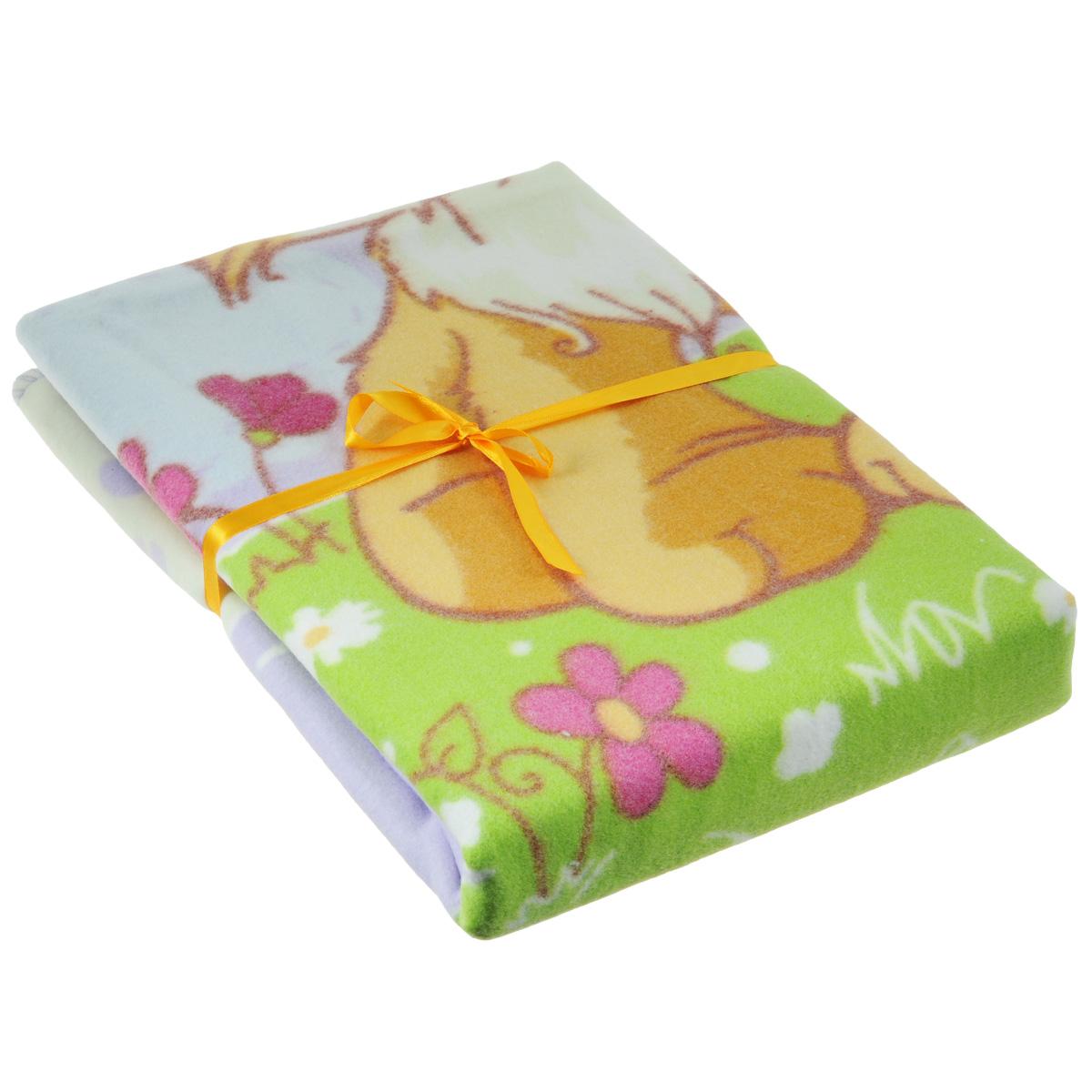 Одеяло детское Baby Nice Котенок, байковое, цвет: желтый, 100 см x 140 см пледы baby nice отк одеяло детское вязанное 90х118