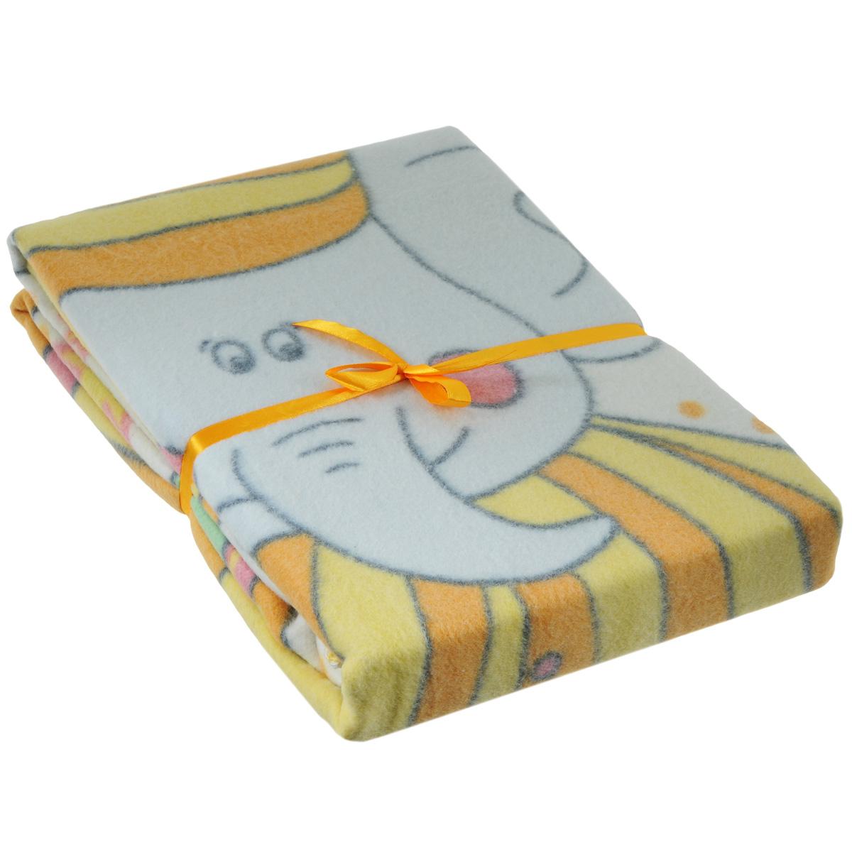 Одеяло детское Baby Nice  Пора спать , байковое, цвет: желтый, 100 см x 140 см - Детский текстиль