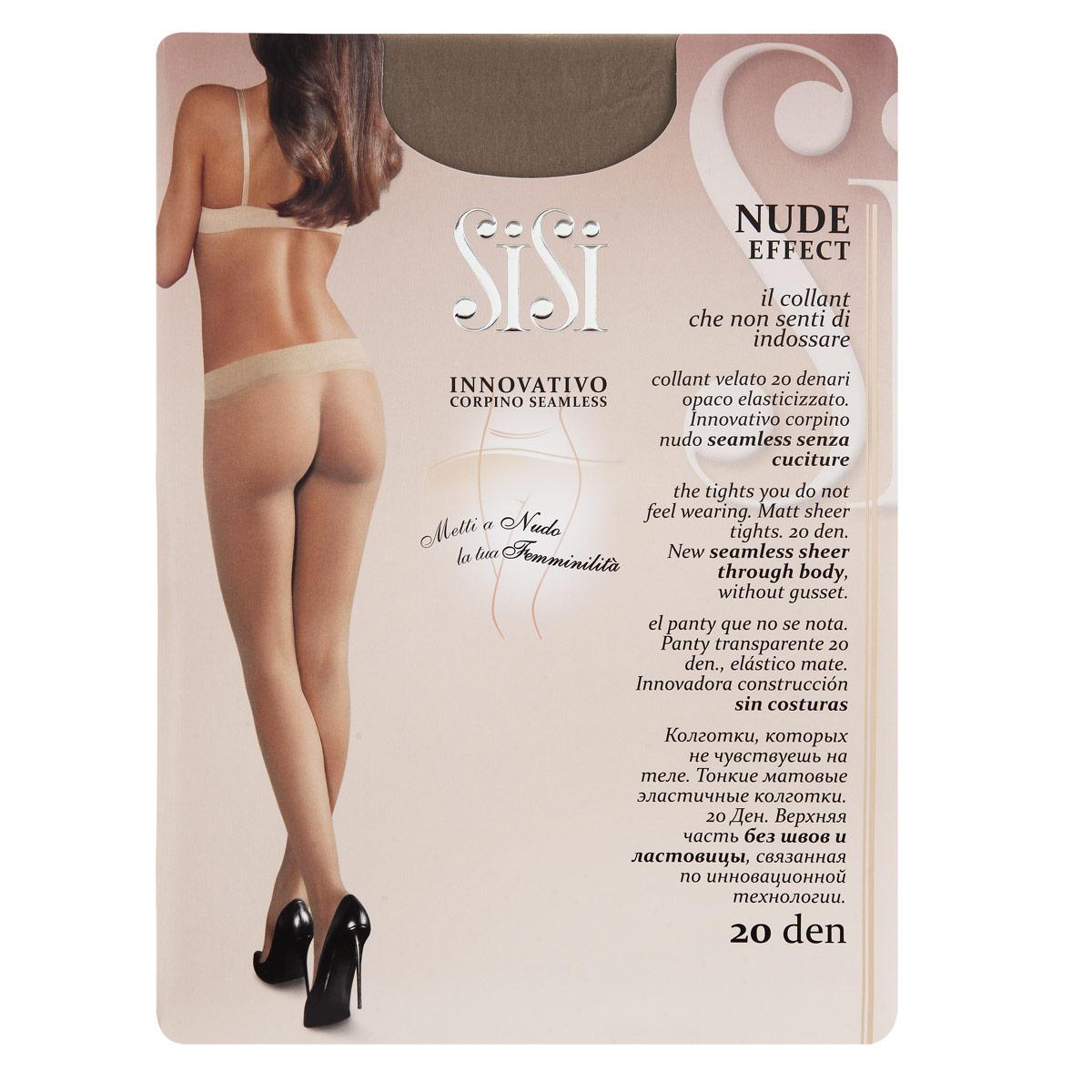 Колготки Sisi Nude Effect 20. Miele (светло-телесный). Размер 2-S1299 Nude Effect 20Тонкие, матовые, эластичные колготки Sisi Nude Effect не чувствуются на теле. Верхняя часть без швов и ластовицы, связанная по инновационной технологии.Плотность: 20 den.
