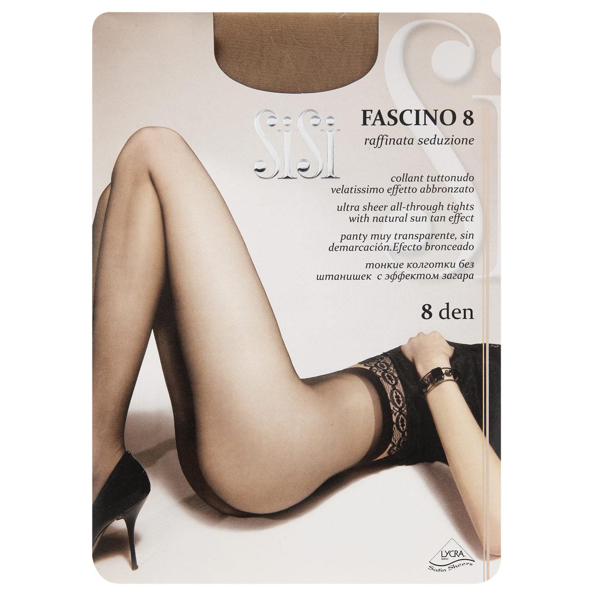 Колготки Sisi Fascino 8. Ambra (темно-коричневый). Размер 4-L42 Fascino 8Тонкие колготки Sisi Fascino без шортиков с эффектом загара. Удобные швы, ластовица, невидимый мысок. Размер XL с задней вставкой. Плотность: 8 den.