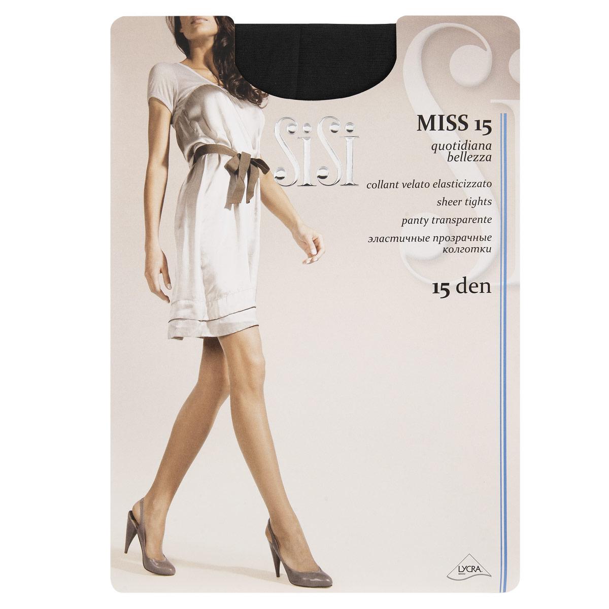 Колготки Sisi Miss 15. Nero (черный). Размер 5-XL колготки sisi style размер 2 плотность 15 den nero