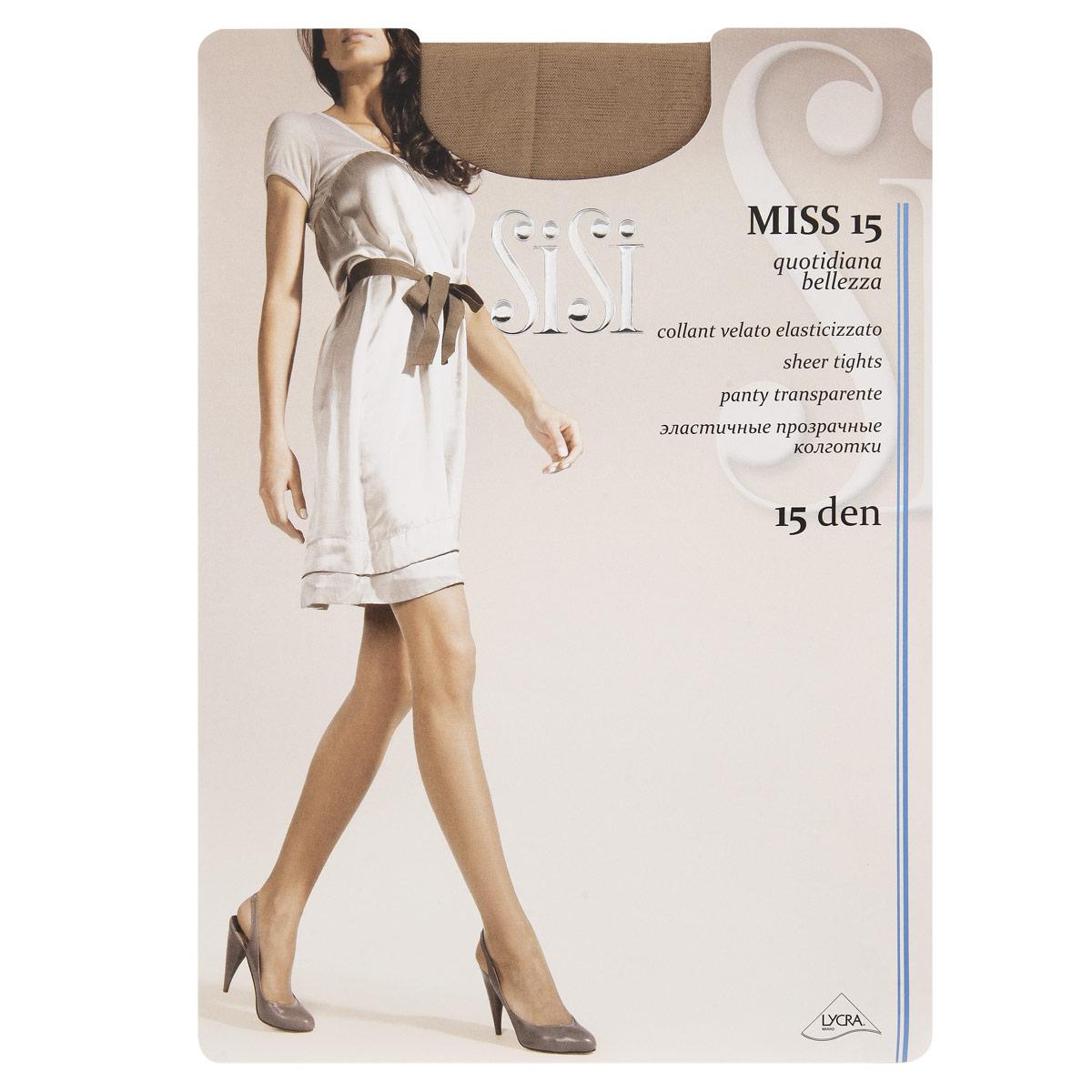 Колготки Sisi Miss 15. Miele (светло-телесный). Размер 4-L52 Miss 15Эластичные прозрачные колготки Sisi Miss с шортиками и удобными швами.Плотность: 15 den.