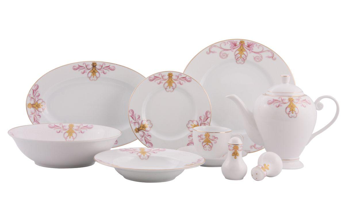 Сервиз WR-3003 обед. 36пр.WR-300336пр. на 6 персон : тарелки по 6шт: обеденная(27см), суповая(21,5см),десертная(19см); блюдо овал.-1шт (35*20см), салатник-1шт(23см), чайник с крышкой-1шт(1270мл),чашка-6шт.(200мл), блюдце-6шт(15см), солонка, перечница. Состав: фарфор.