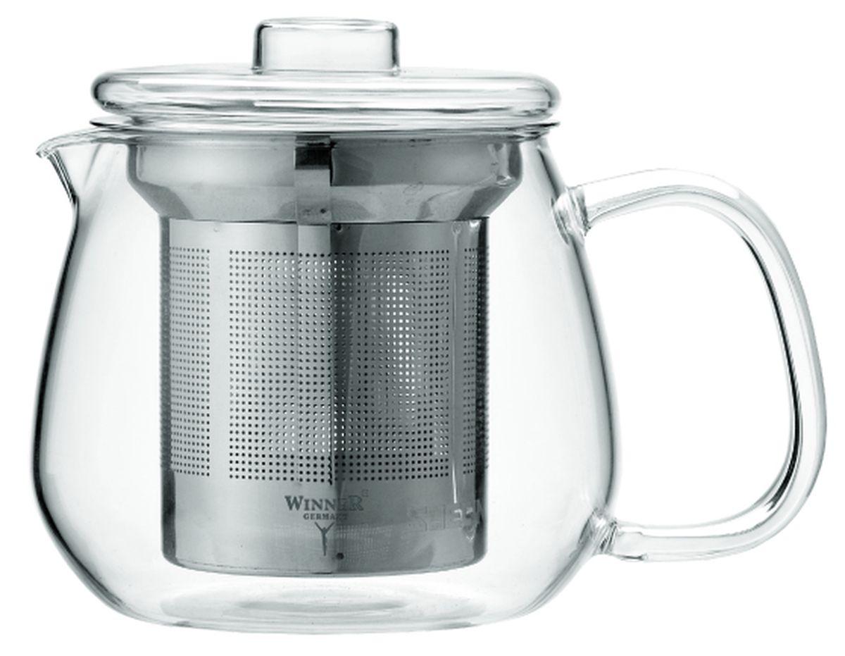 Чайник заварочный Winner, с фильтром, 400 млWR-5219Заварочный чайник Winner, изготовленный из термостойкого стекла, предоставит вам все необходимые возможности для успешного заваривания чая. Чай в таком чайнике дольше остается горячим, а полезные и ароматические вещества полностью сохраняются в напитке. Чайник оснащен фильтром и крышкой. Фильтр выполнен из нержавеющей стали. Простой и удобный чайник поможет вам приготовить крепкий, ароматный чай.Нельзя мыть в посудомоечной машине. Не использовать в микроволновой печи.Диаметр чайника (по верхнему краю): 7,5 см.Высота чайника (без учета крышки): 8,5 см.Высота фильтра: 7,5 см.
