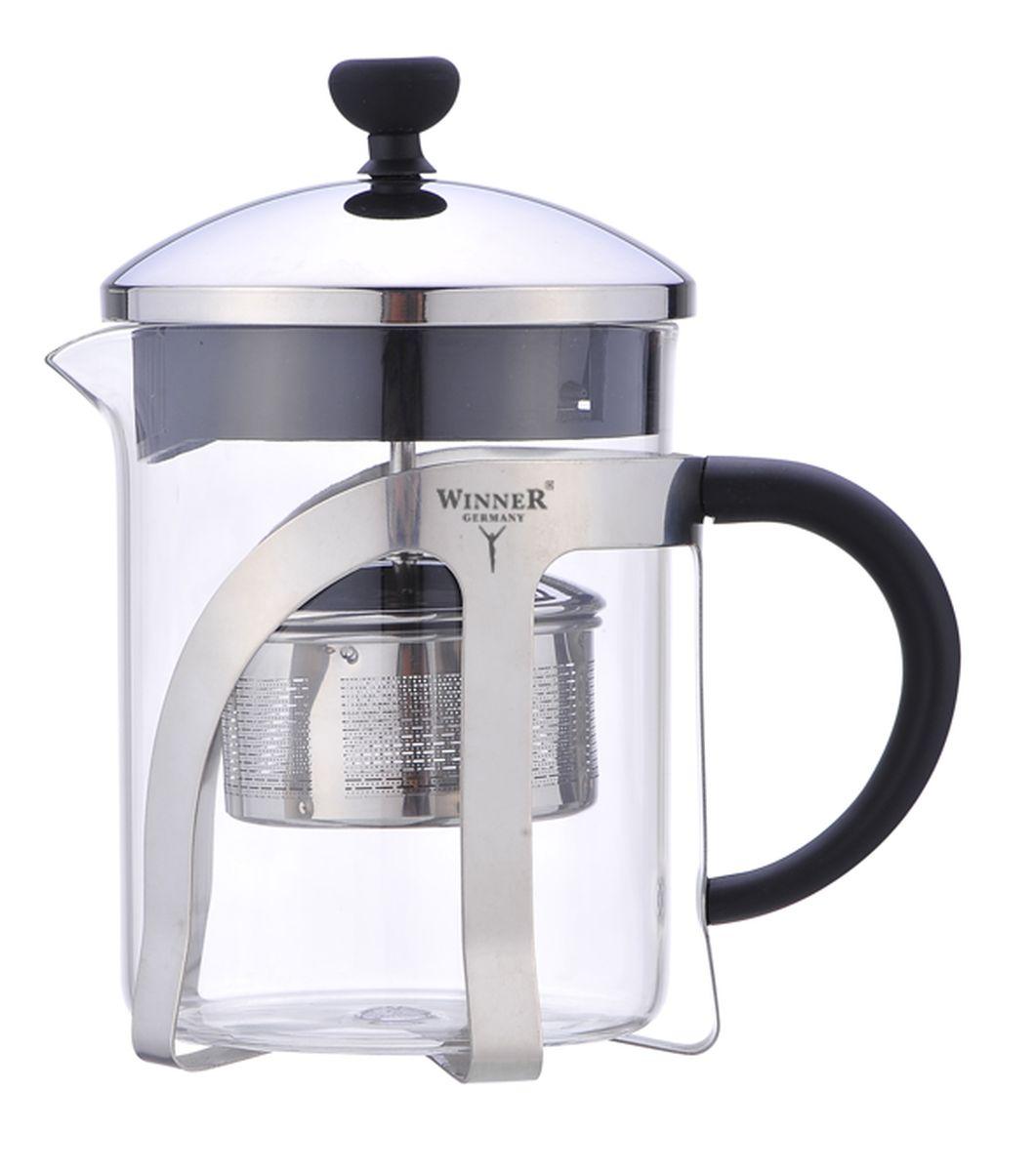 """Чайник заварочный """"Winner"""", изготовленный из термостойкого стекла с пластиковой ручкой, предоставит вам все необходимые возможности для успешного заваривания чая. Чай в таком чайнике дольше остается горячим, а полезные и ароматические вещества полностью сохраняются в напитке. Чайник оснащен фильтром, крышкой. Простой и удобный френч-пресс """"Winner"""" поможет вам приготовить крепкий, ароматный чай.Диаметр чайника (по верхнему краю): 9,5 см.Высота чайника (без учета крышки): 11,5 см.Высота фильтра: 3,5 см."""