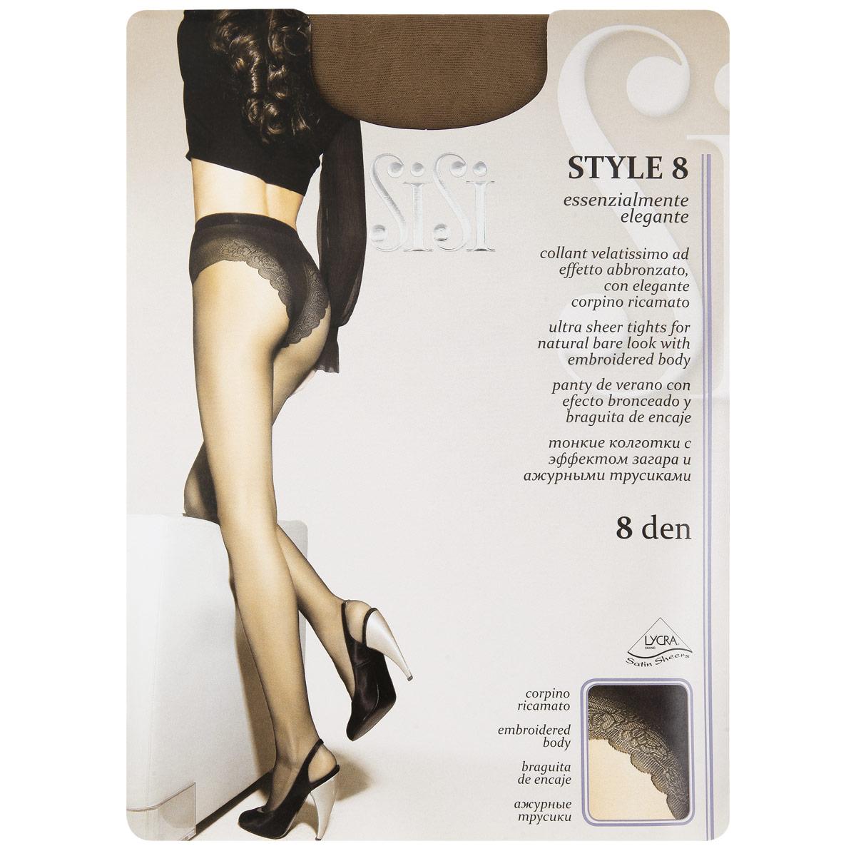 Колготки женские Sisi Style 8, цвет: Tropico (темно-коричневый). 142. Размер 3 (M) колготки sisi style размер 2 плотность 15 den nero
