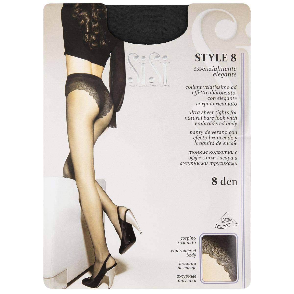 Колготки женские Sisi Style 8, цвет: Nero (черный). 142. Размер 3 (M) колготки sisi style размер 2 плотность 15 den nero