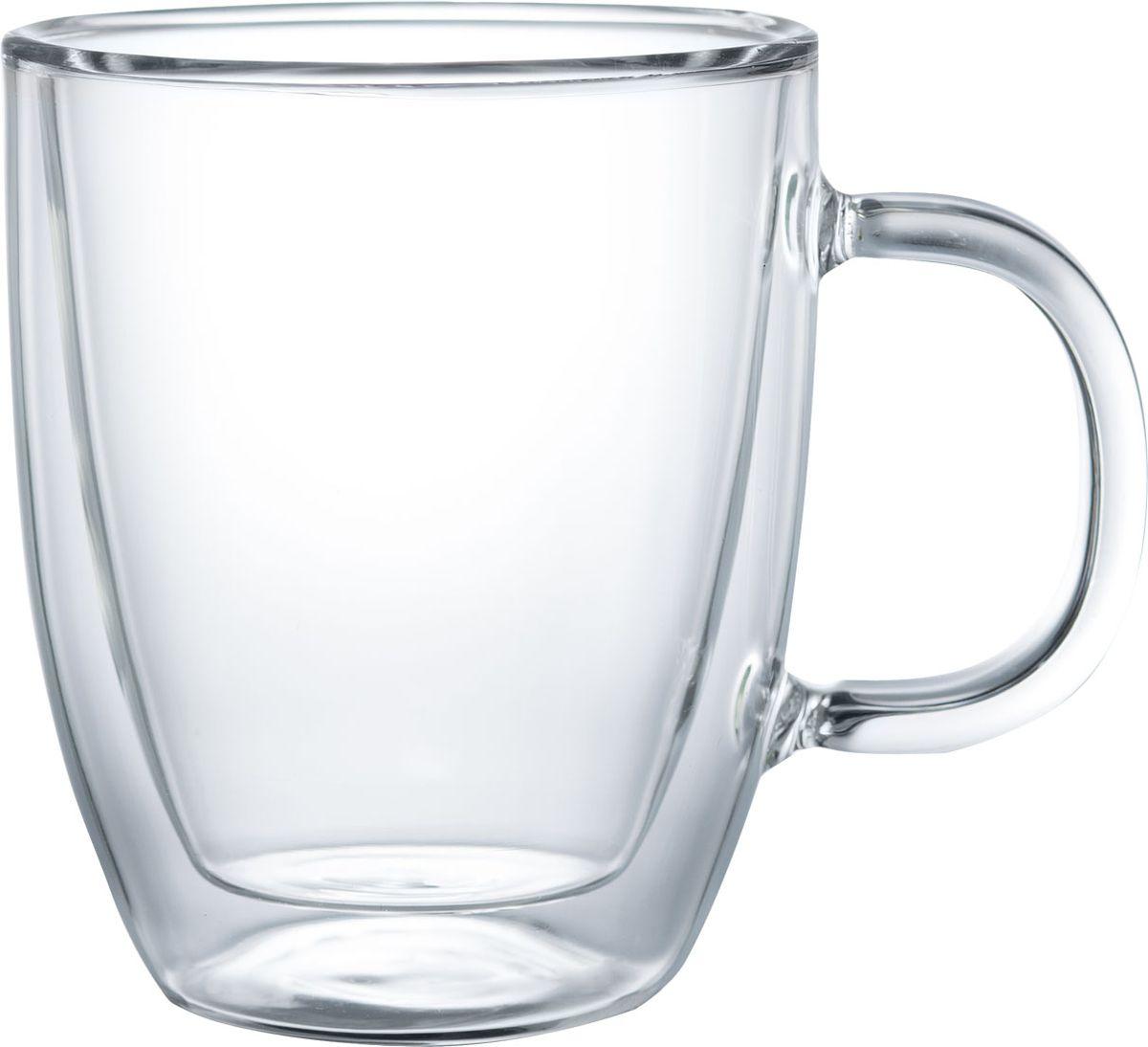 """Термокружка Walmer """"Queen"""", изготовленная из высококачественного жаропрочного стекла, оснащена двойными стенками. Прослойка воздуха оставляет напитки долгое время горячими. Внешняя поверхность кружки сохраняет при этом комнатную температуру.Можно мыть в посудомоечной машине и использовать в микроволновой печи.Диаметр (по верхнему краю): 10 см.Высота: 12 см."""
