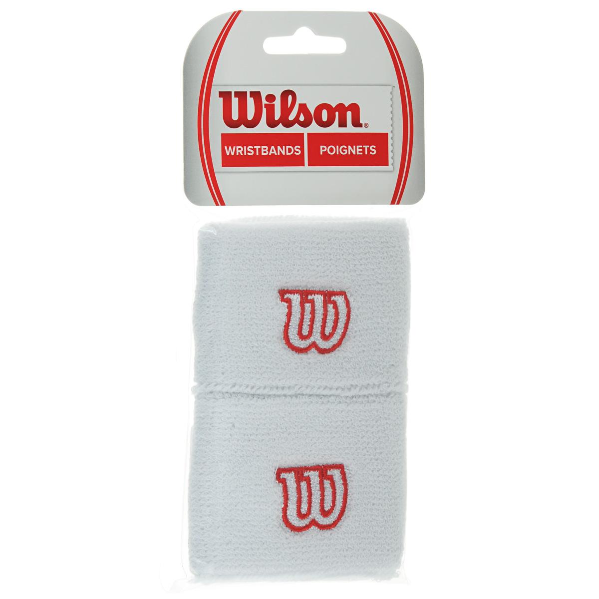 Напульсник Wilson Wristband, цвет: белый, 2 шт. Размер универсальныйWR5602100Широкие напульсники Wilson Wristband выполнены из футера и украшены вышивкой W. Полностью поглощают влагу, обеспечивая максимальный комфорт во время игры или тренировки.