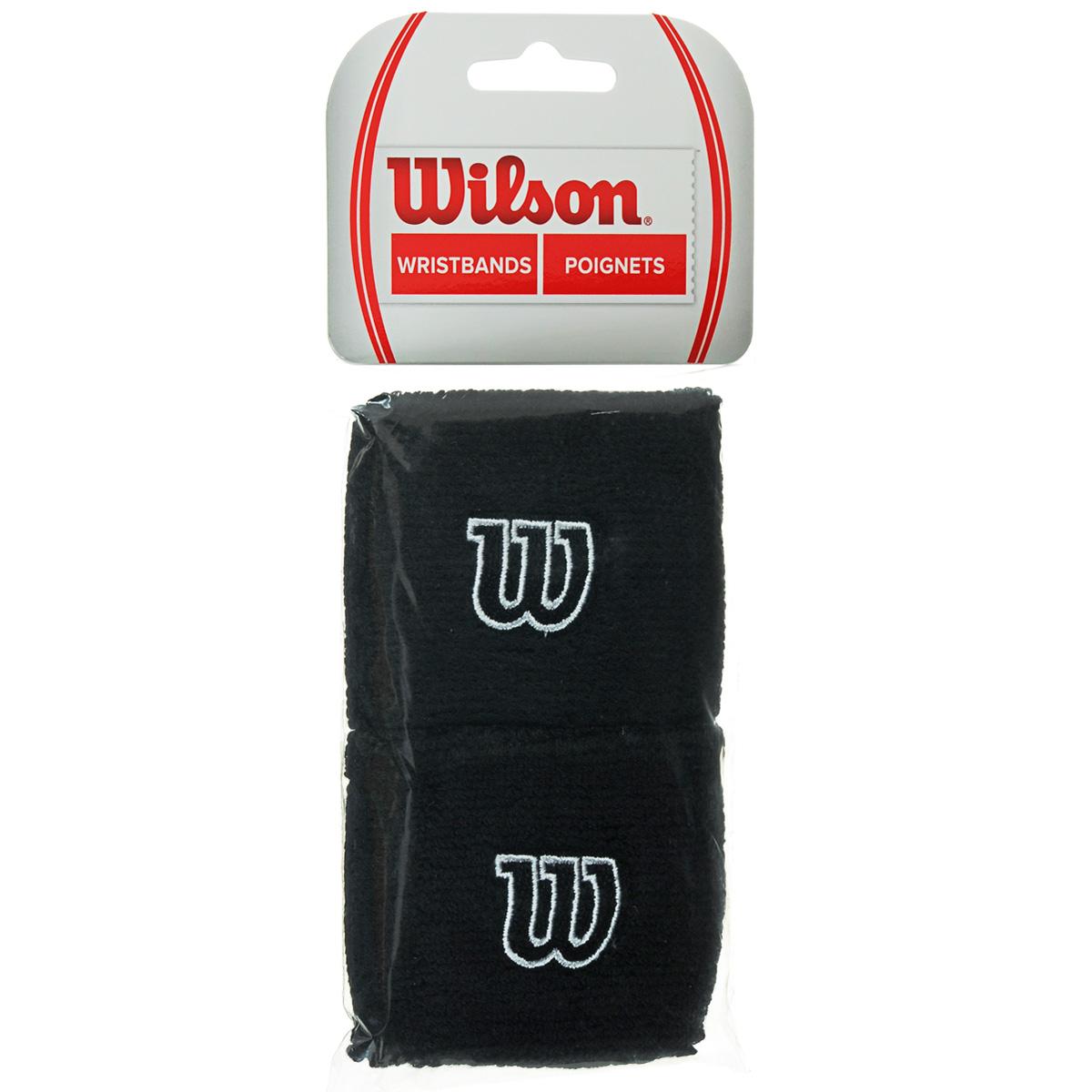 Напульсник Wilson Wristband, цвет: черный, 2 шт. Размер универсальныйWR5602700Широкие напульсники Wilson Wristband выполнены из футера и украшены вышивкой W. Полностью поглощают влагу, обеспечивая максимальный комфорт во время игры или тренировки.