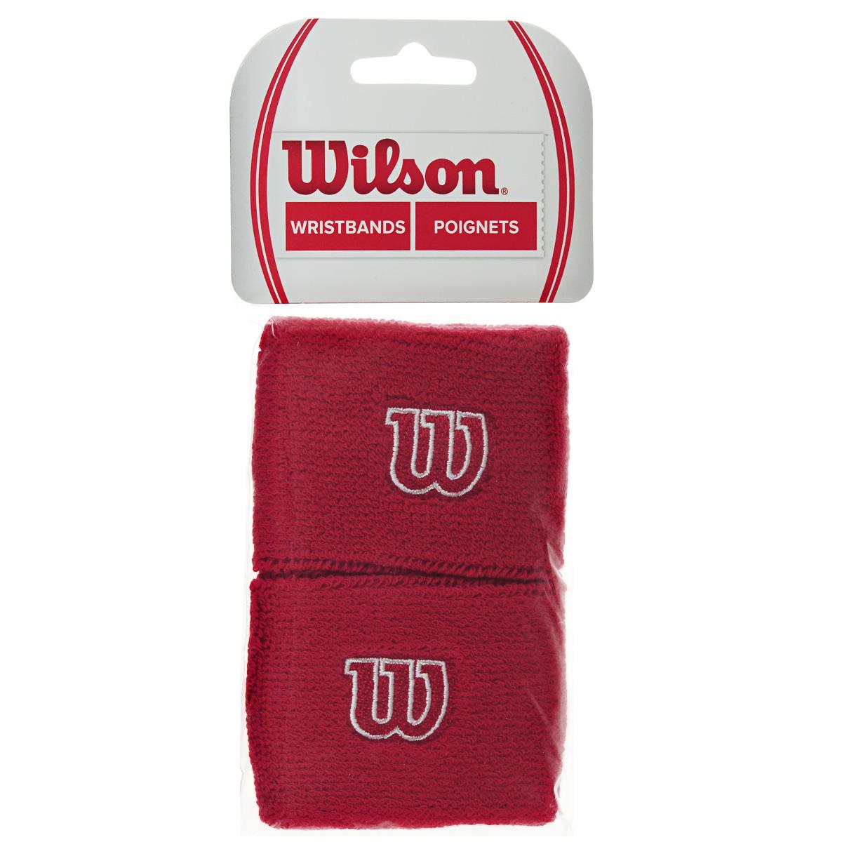 Напульсник Wilson Wristband, цвет: красный, 2 шт. Размер универсальныйWR5602900Широкие напульсники Wilson Wristband выполнены из футера и украшены вышивкой W. Полностью поглощают влагу, обеспечивая максимальный комфорт во время игры или тренировки.