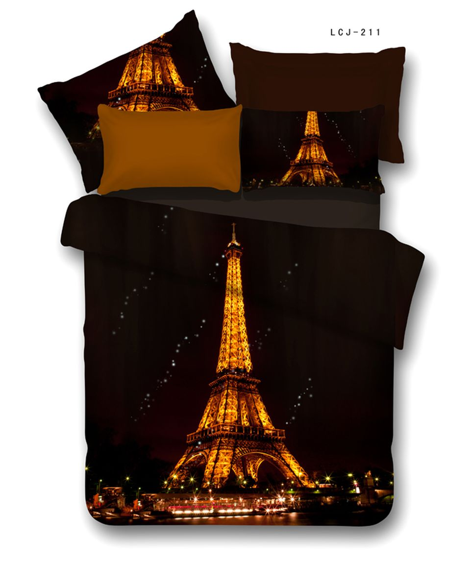 Комплект белья Buenas noches RS Eiffel, 2-спальное. 6880168801Buenos Noches – Элегантно, Стильно, Качественно! Buenos Noches -продукция с высоким качеством исполнения. У Buenos Noches Вы найдете постельное белье, пледы и покрывала. Вся продукция выполнена из тканей высшего качества с использованием стойких и безвредных красителей. Все серии товаров Buenos Noches имеют презентабельную, оригинальную и подарочную упаковку. Что послужит прекрасным подарком на любое торжество! Фотопечать 3D Buenos Noches - это красочные, объемные, реалистичные рисунки, нанесенные на ткань методом реактивной, многопиксельной 3D печати. Коллекция дизайнов Фотопечати 3D перенесет Вас и Ваших близких, в сказочный мир современных мегаполисов, сказочных цветов, в мир экзотической природы! Сатин - 100% Хлопок! Исключительно для Фотопечати 3D используется эта великолепнаяя материя, полученная из гребенной пряжи элитных, тонкорунных, длинных хлопковых волокон, беспечивающих самые высокие показатели, которые может дать хлопковая ткань. Пододеяльник-180*215, Простыня-220*240, наволочки-50*70(2шт), 70*70(2шт)