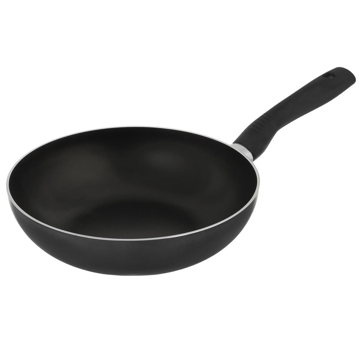 Сковорода-вок TVS Basilico, с антипригарным покрытием, цвет: черный. Диаметр 27 см сотейник tvs basilico с двумя ручками цвет черный диаметр 24 см