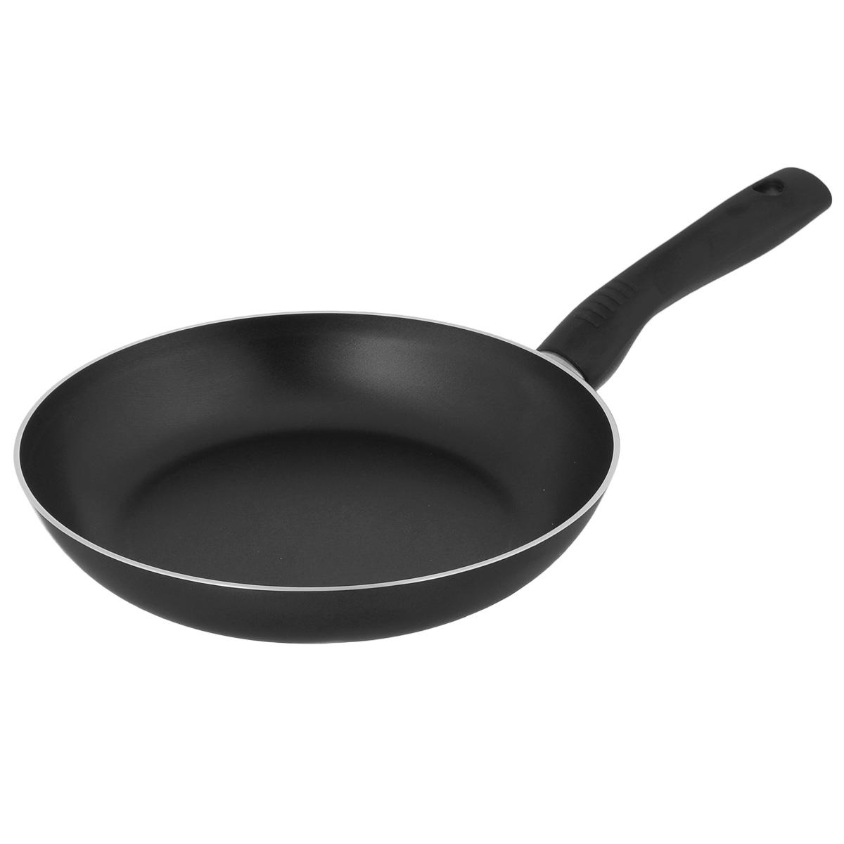 Сковорода TVS Basilico, с антипригарным покрытием, цвет: черный. Диаметр 20 см сотейник tvs basilico с двумя ручками цвет черный диаметр 24 см