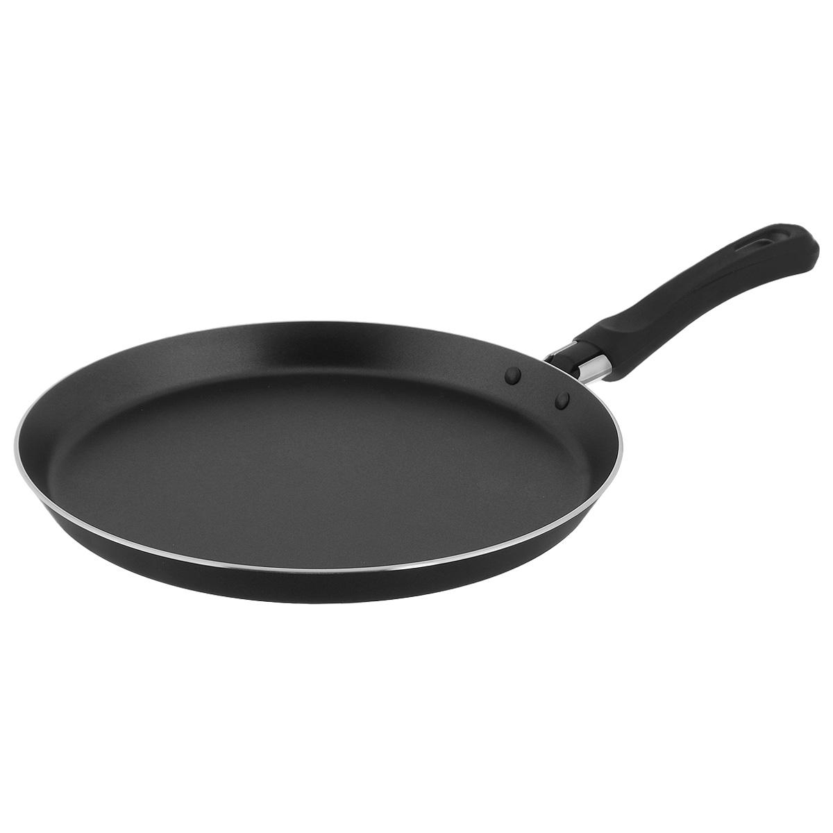 """Блинная сковорода TVS """"Basilico"""" изготовлена из алюминия с внешним покрытием черного цвета и обладает превосходной теплопроводностью. Толстое дно обеспечивает равномерное прогревание по всей поверхности. Идеально подходит для приготовления блинчиков и оладий. Внутреннее антипригарное покрытие IperTEK позволяет готовить пищу практически без использования масла.   Эргономичная ручка, изготовленная из бакелита, не нагревается и не позволит обжечь руки.  Блинная сковорода TVS """"Basilico"""" изготовлена из экологичных материалов, что делает ее пригодной для приготовления пищи детям.    Подходит для всех видов плит, кроме индукционных.  Можно мыть в посудомоечной машине.      Серия """"Basilico"""" отличается качественным антипригарным покрытием и изысканным дизайном в итальянском стиле. Черный цвет  выглядит необычно и очень стильно.   Компания TVS была основана в 1968 году. Основными принципами, которых придерживается компания, являются экологическая безопасность производства, использование новейших материалов и технологий, а также всесторонний учет потребностей рынка. Посуда TVS (Италия) - это превосходное решение для любой современной кухни, способное создать по-настоящему комфортные условия для приготовления пищи. Вся посуда ТМ TVS не содержит PFOA. Отсутствие PFOA делает посуду экологически безопасной.       Диаметр сковороды: 25 см.   Высота стенки: 1,5 см."""