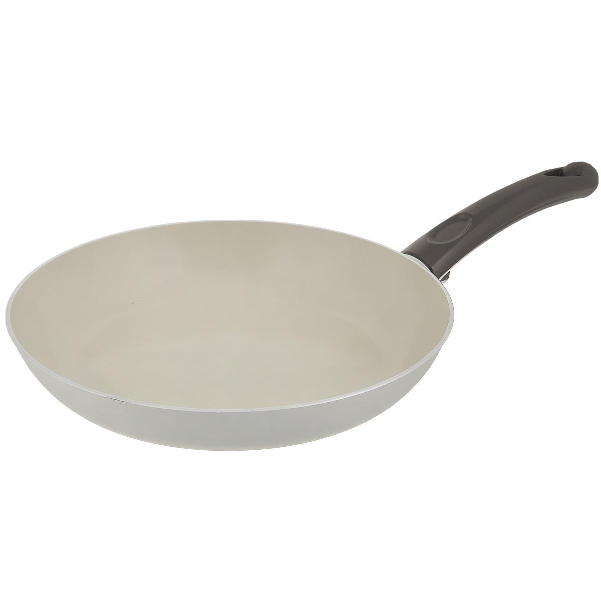 Сковорода TVS Bianca, с антипригарным покрытием, цвет: молочный. Диаметр 24 см сковороды tvs сковорода tvs splendida 24 см