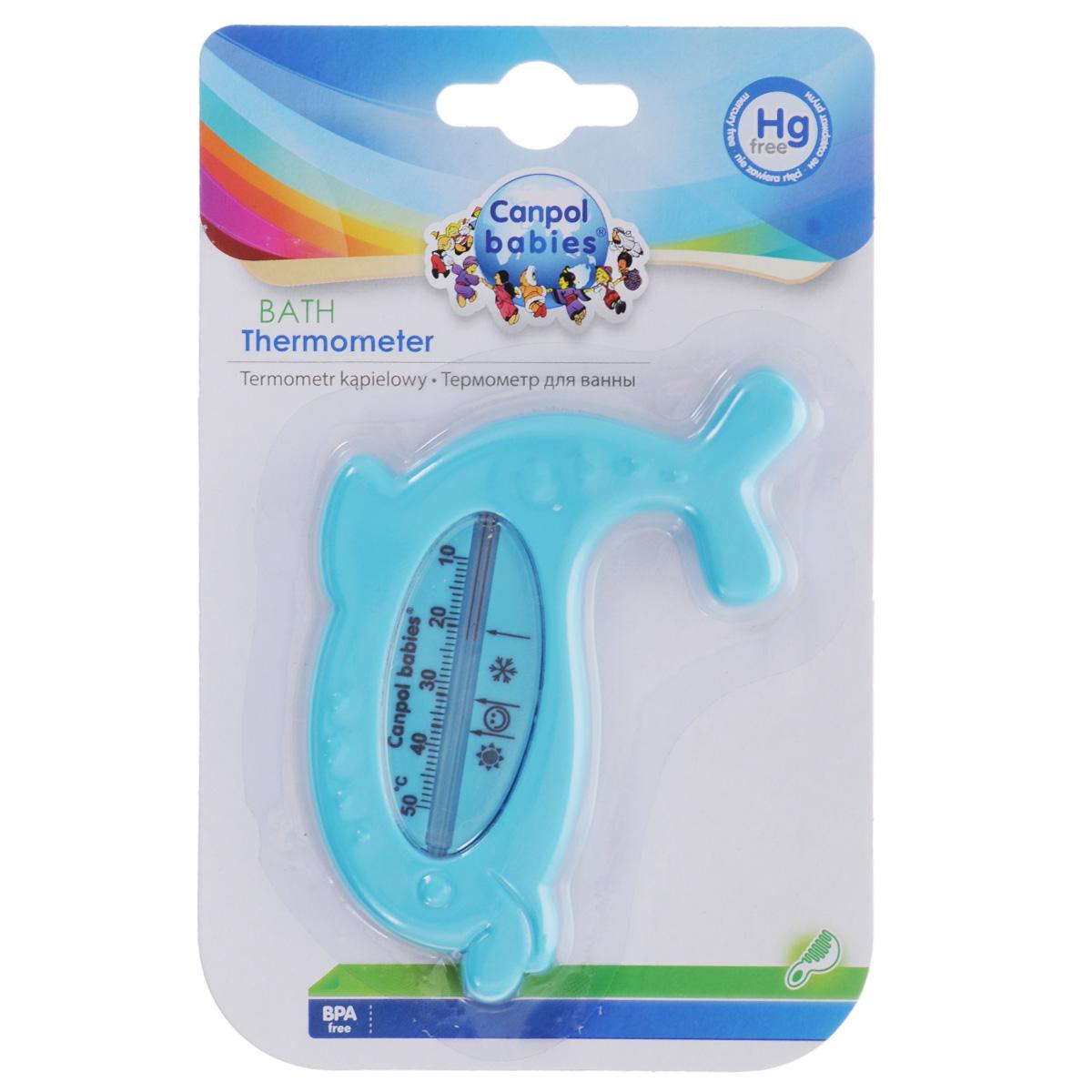 """Термометр для ванны """"Canpol Babies"""" в форме дельфина позволяет очень точно измерять температуру воды. Не содержит ртути, что обеспечивает безопасность использования. Оптимальная температура воды для ребенка около 37°С, отмечена на шкале изображением смайлика. Шкала температуры в Цельсиях, от +10°С до +50°С."""