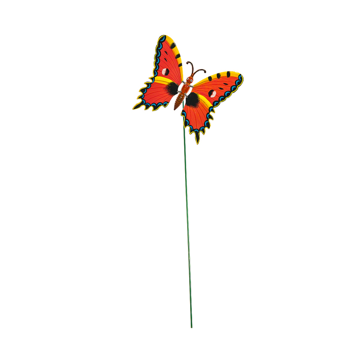 Украшение на ножке Village People Бабочка, цвет: красный, желтый, высота 42 см64585_2Украшение на ножке Village People Бабочка поможет вам дополнить экстерьер красивой и яркой деталью. Такое украшение очень просто вставляется в землю с помощью длинной ножки, оно отлично переносит любые погодные условия и прослужит долгое время. Идеально подходит для декорирования садового участка, грядок, клумб, домашних цветов в горшках, а также для поддержки и правильного роста декоративных растений.Крылья бабочки прикреплены к тельцу пружинками, и при движении бабочки крылышки начинают шевелиться. Размер бабочки: 17 см х 16 см х 10 см. Высота ножки: 42 см.