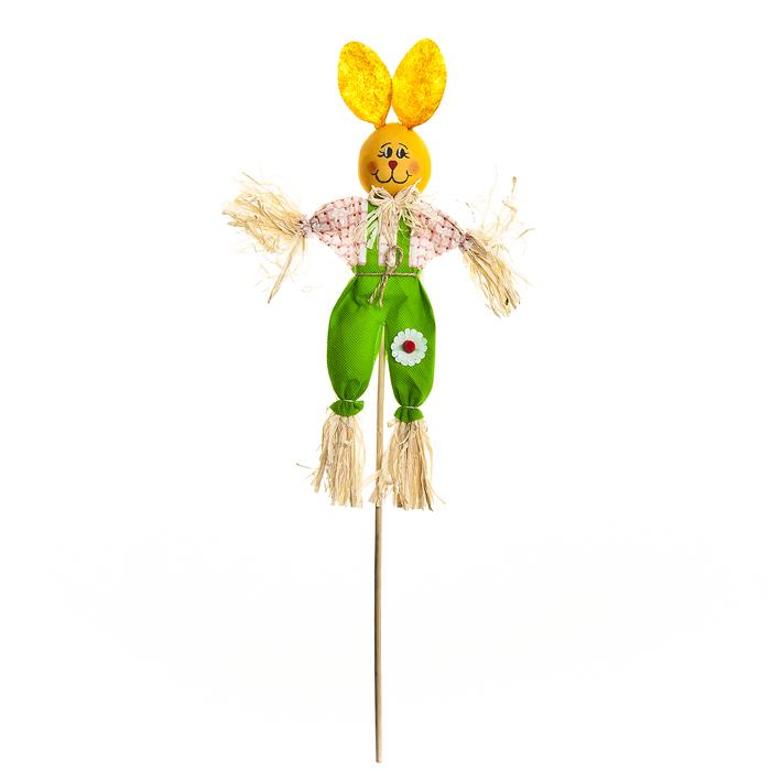 Украшение на ножке Village People Соломенный зайчик, цвет: зеленый, высота 50 см украшение на ножке village people соломенные веселые цветы цвет зеленый 66945 1