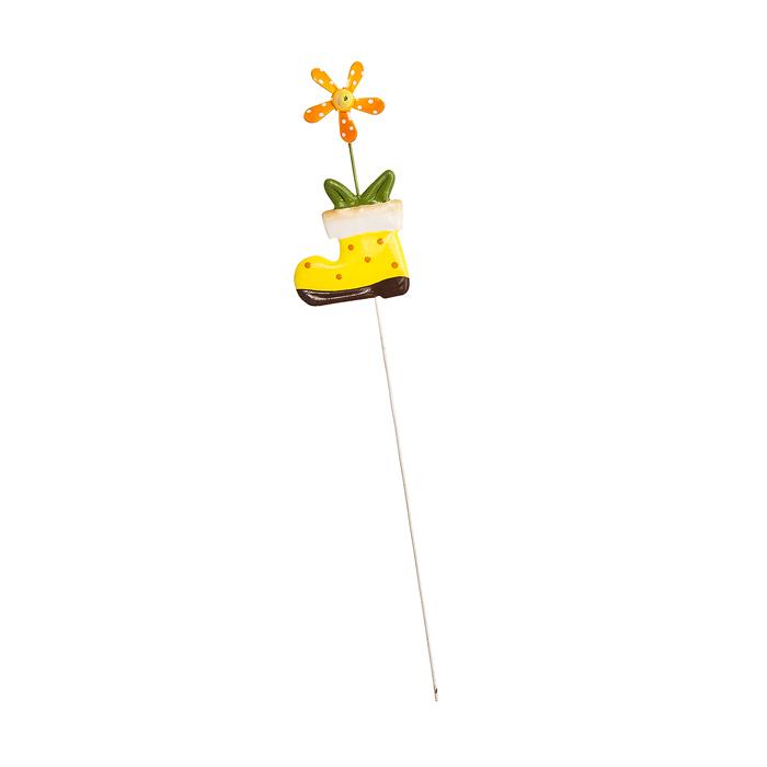 Украшение на ножке Village People Веселая клумба, цвет: желтый, высота 29 см украшение на ножке village people приветливая бабочка высота 50 см