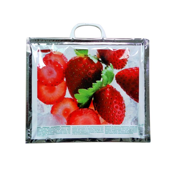 """Удобный и практичный пакет-холодильник многоразового использования Home Queen """"Лед"""" изнутри покрыт специальным отражающим материалом и создан для того, чтобы как можно дольше сохранить еду свежей. Надежные застежки удобны в использовании, позволяют моментально закрыть пакет и не дадут ему случайно открыться.  Яркий принт делает этот пакет оригинальным аксессуаром.  Размер: 40 см х 33 см."""