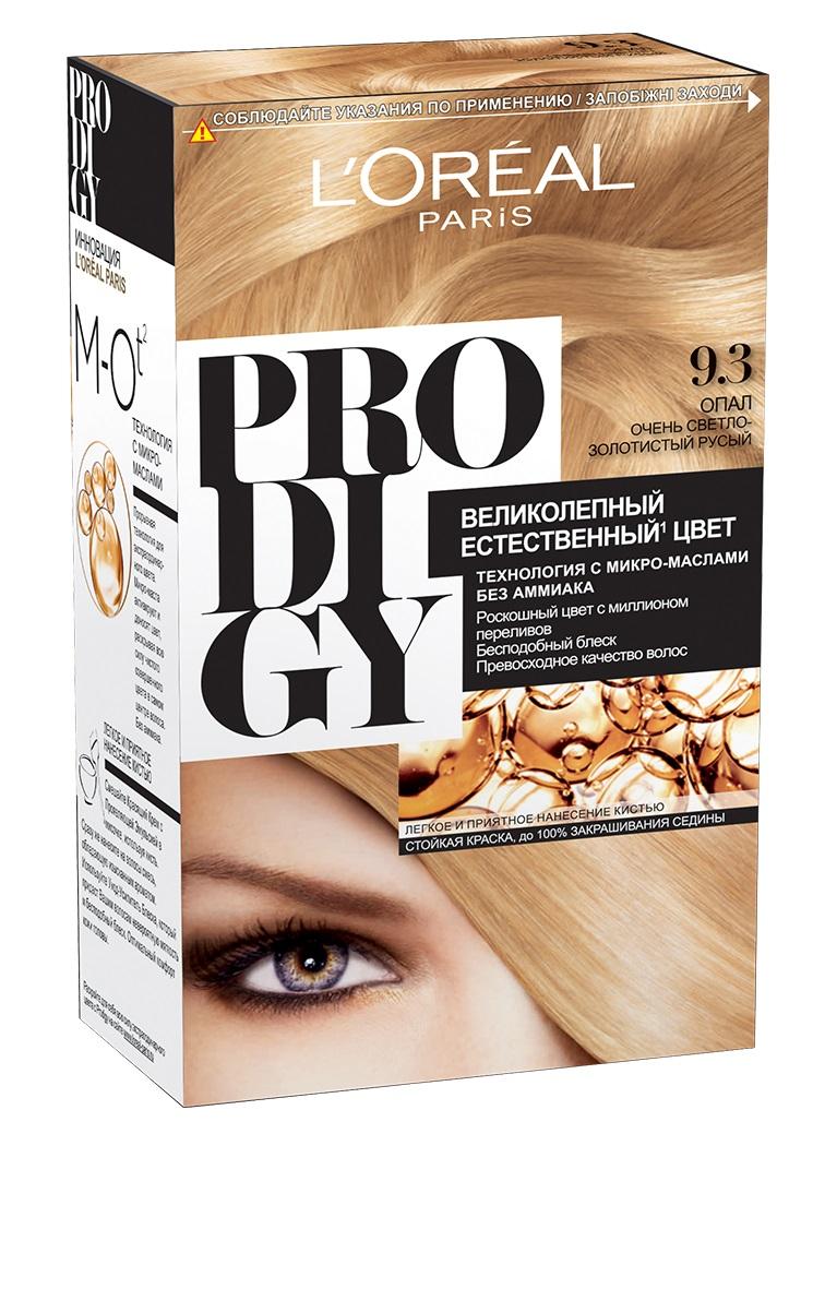 LOreal Paris Краска для волос Prodigy без аммиака, оттенок 9.3, ОпалA8562601Краска для волос серии «Prodigy» совершила революционный прорыв в окрашивании волос. Новейшая технология состоит в использовании особых микромасел, которые, проникая в самый центр волоса, наполняют его насыщенным, совершенным свой чистотой цветом. Объемный цвет, полный переливов разнообразных оттенков достигается идеальной гармонией красящих пигментов. Кроме создания поразительного цвета микромасла также разглаживают поверхность волос, придавая тем самым ослепительный блеск. Равномерное окрашивание волос по всей длине, эффективное закрашивание седины и сохранение здоровой структуры волос — вот результат действия краски «Prodigy» без аммиака.В состав упаковки входит: красящий крем (60 г); проявляющая эмульсия (60 г); уход-усилитель блеска (60 мл);пара перчаток; инструкция по применению.1. Доносит цветовые пигменты в самый центр волоса 2. Кремовая текстура без запаха аммиака 2. Стойкая краска без аммиака 3. До 100% закрашивания седины