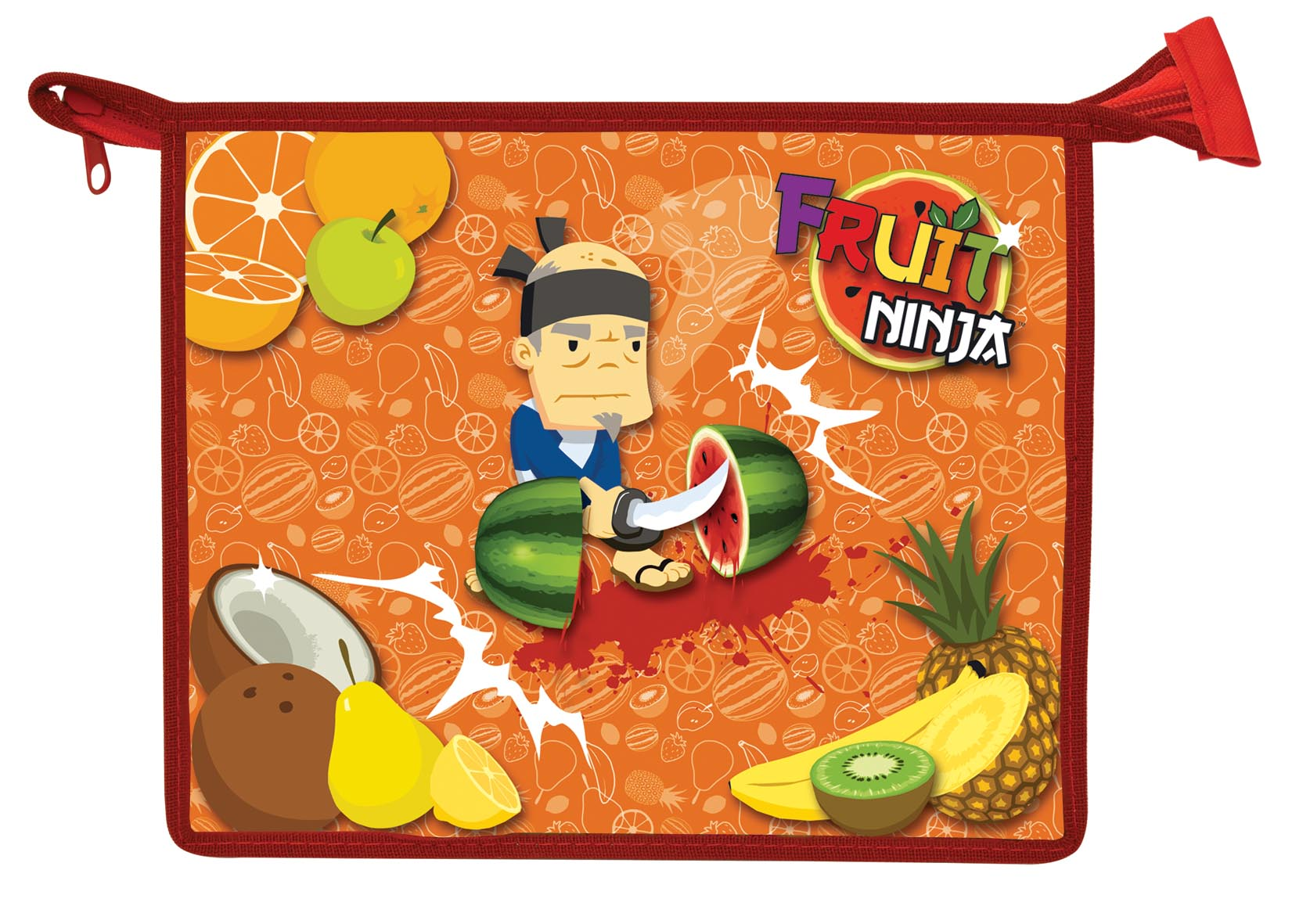 Папка для тетрадей Action! Fruit Ninja, на молнии. Формат A5 подкладка на стол action fruit ninja пвх с заварным рисунком а3