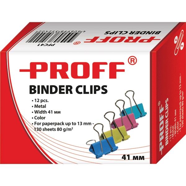 Зажимы для бумаг Proff, 41 мм, 12 шт