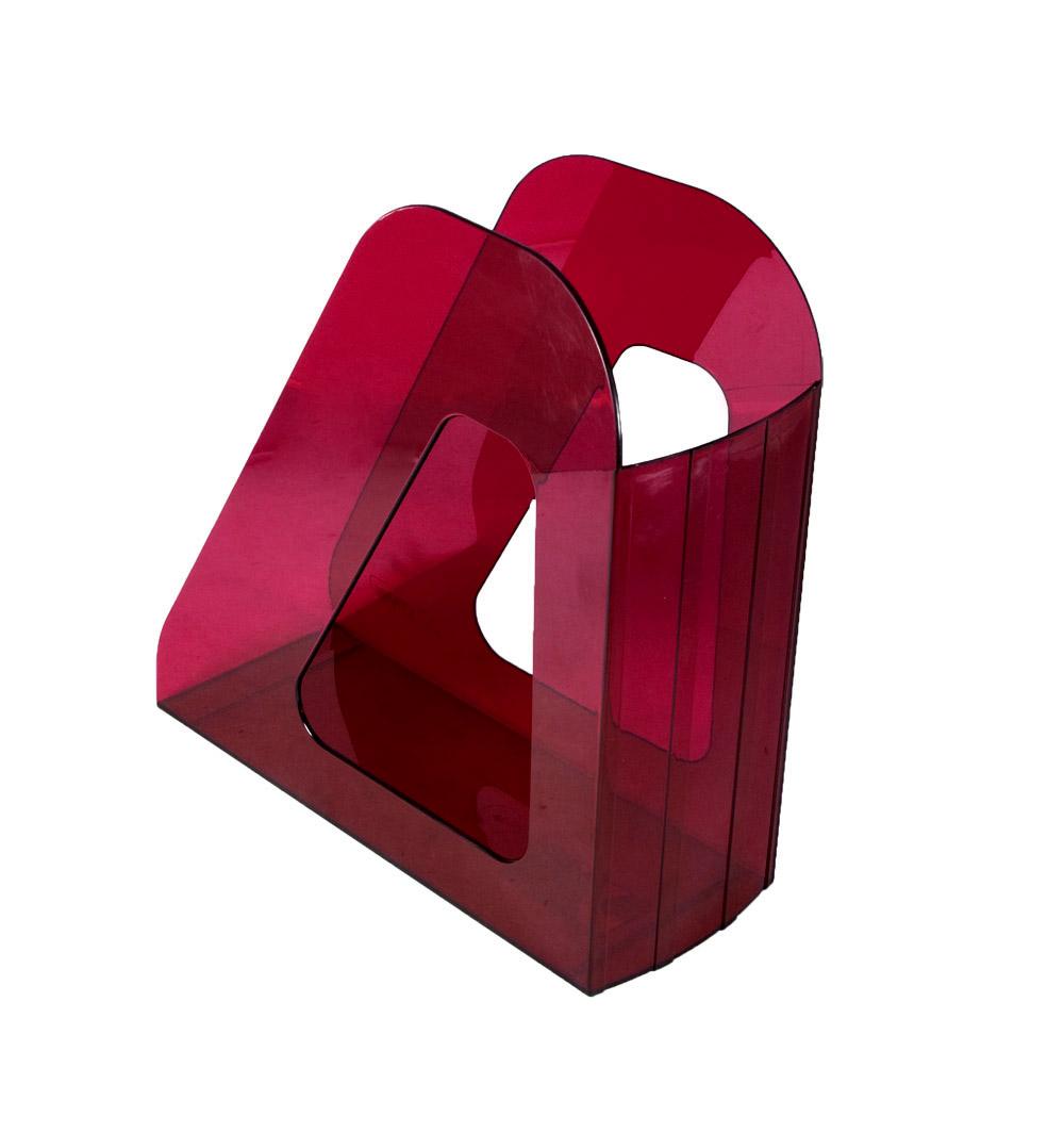 Лоток для бумаг вертикальный Стамм Фаворит, прозрачный, цвет: вишневый. ЛТ708