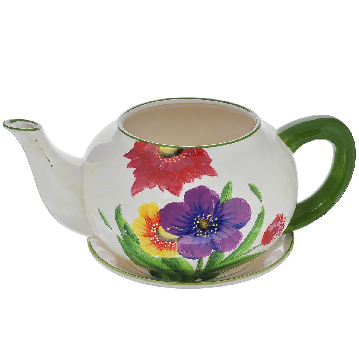 Кашпо Lillo  Яркие цветы , с поддоном -  Садовый декор