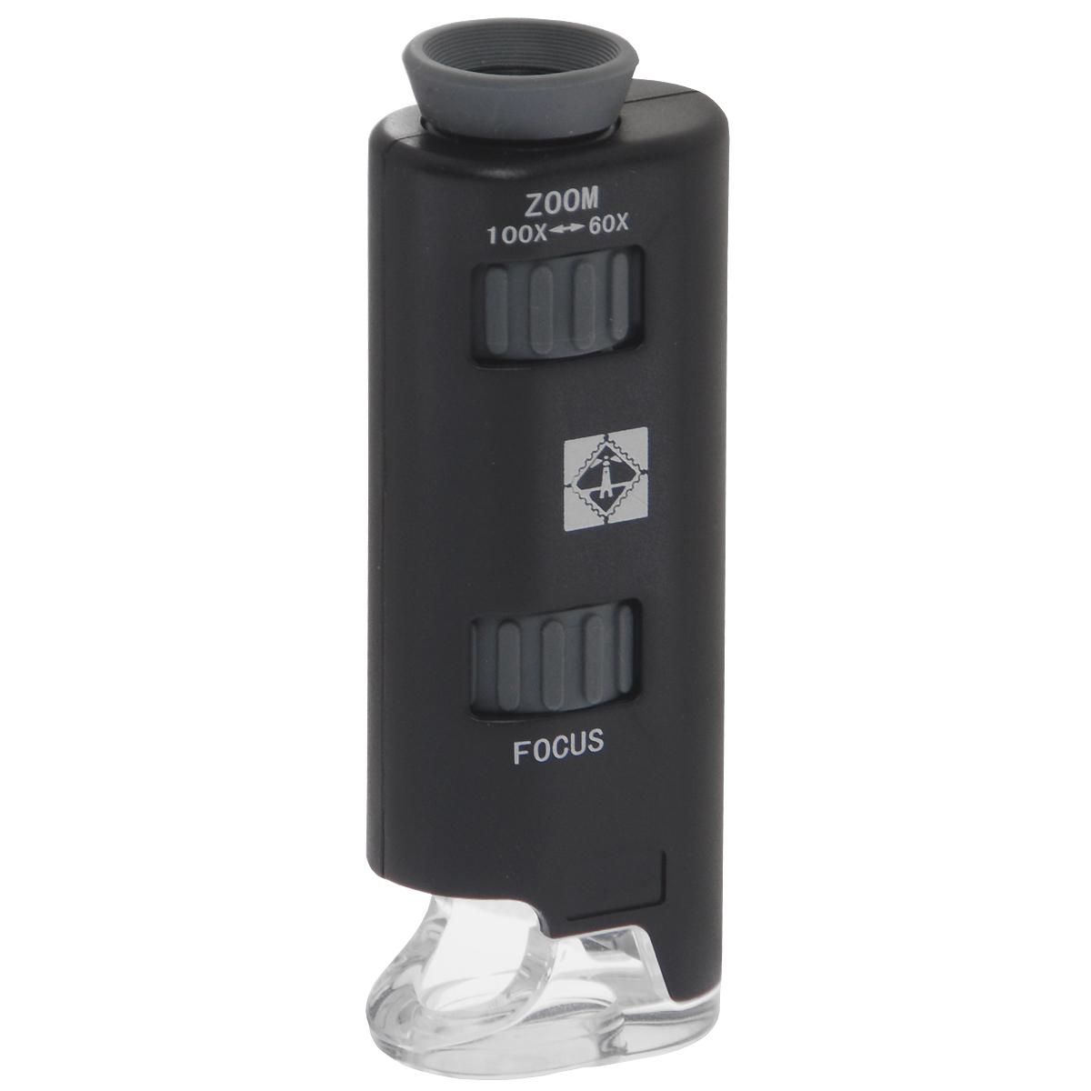 Карманный микроскоп с переменным увеличением и светодиодом. PM 2. LeuchtturmPM 2Удобный карманный микроскоп PM 2. Leuchtturm для занятий, учебы и хобби. Устройство имеет 60-100-кратное увеличение и светодиодную подсветку. В комплект входят батарейки и предметное стекло.