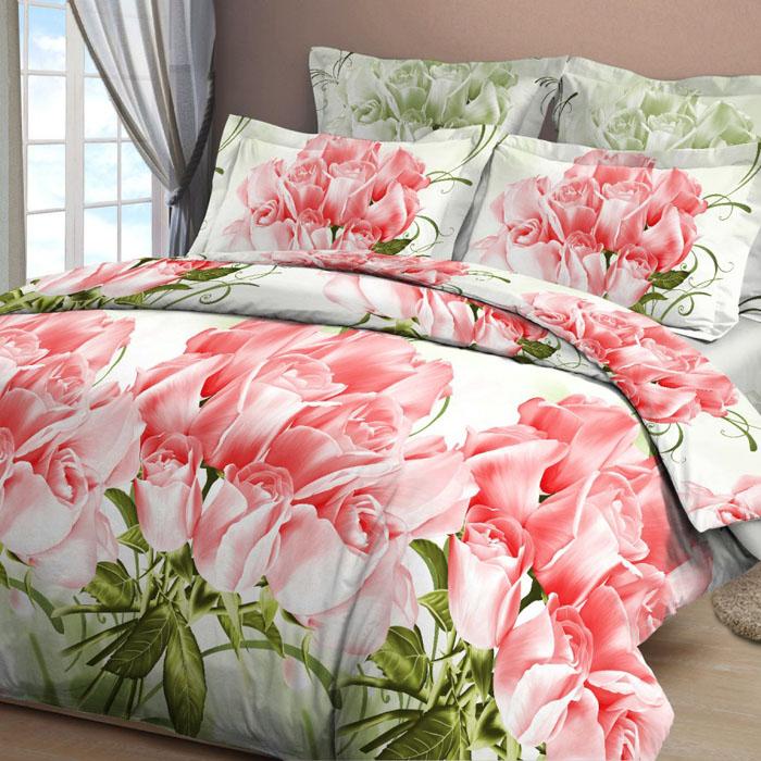 Комплект белья Letto, евро, наволочки 70х70, цвет: розовый. B15-6