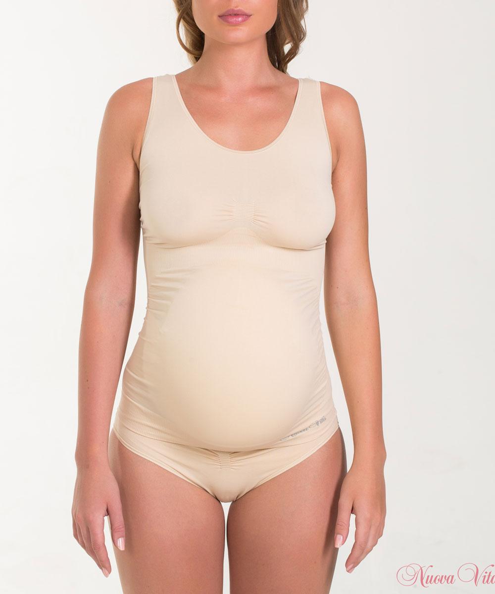 Майка для беременных Nuova Vita, бесшовная, цвет: бежевый. 14879. Размер XL (48/50)14879Бесшовная майка для беременных Nuova Vita, изготовленная из мягкой микрофибры, идеально подходит для любого периода беременности. Отсутствие швов обеспечивает комфорт даже для чувствительной кожи и позволяет носить ее под облегающей одеждой.Шелковисто-мягкая нейлоновая ткань обеспечивает комфорт в течении всего дня. Это бесшовное белье предназначено, чтобы приспособиться к вашему телу и обеспечивает максимальный комфорт. Майка с антибактериальной защитой и влагоабсорбирующая.