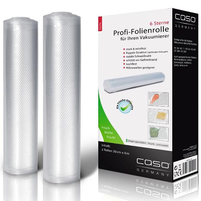 CASO VC 30х600 пленка в рулоне для вакуумного упаковщика, 2 шт.VC 30*600Рулоны для вакуумной упаковки CASO VC- это два рулона профессиональной пленки для вакуумной упаковки с ребристой внутренней поверхностью для оптимального вакуумирования. Высокая прочность пакета допускает замораживание, использование в СВЧ печи, готовку по технологии Sous-Vide.Уважаемые клиенты! Обращаем ваше внимание на то, что упаковка может иметь несколько видов дизайна. Поставка осуществляется в зависимости от наличия на складе.