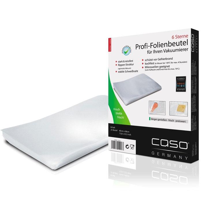 CASO VC 40х60 пакеты для вакуумного упаковщика, 25 шт.VC 40*60Пакеты для вакуумной упаковки CASO VC - это 25 профессиональных пакетов для вакуумной упаковки с ребристой поверхностью для оптимального вакуумирования. Высокая прочность пакета допускает замораживание, использование в СВЧ печи, готовку по технологии Sous-Vide.