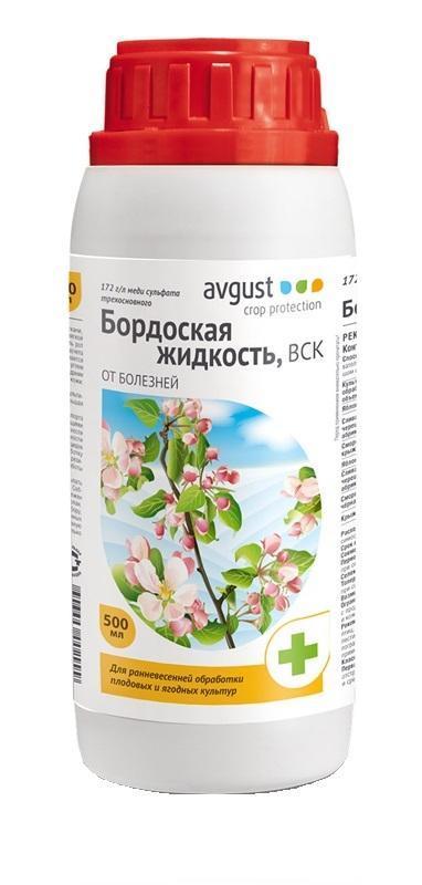 Бордоская жидкость Avgust, от болезней, 500 мл96002999Бордоская жидкость (объем 500 мл) предназначена для защиты плодовых, овощных, ягодных, бахчевых, цитрусовых, декоративных, цветочных и других культур от комплекса болезней. Совместим с большинством пестицидных препаратов.Бордоская жидкость защищает от парши, монилиоза, коккомикоза, плодовой гнили и различных пятнистостей. Легка в применении.Характеристики:Объем: 500 мл. Объем колпачка-дозатора: 100 мл. Действующее вещество:172 г/л меди сульфата трехосновного. Класс опасности:3 (умеренно опасное соединение). Размер упаковки:7 см х 7 см х 24 см. Артикул:96002999. Российская компания Август является крупнейшим производителем химических средств для защиты растений для сельскохозяйственного производства, а также для владельцев личных подсобных хозяйств и дачников. В компании созданы самая современная производственная база и мощный научный центр. Ассортимент продукции, выпускаемой компанией, насчитывает более 50 наименований высококачественных и технологичных препаратов. Специализированная пестицидная компания Август подтвердила качество выпускаемой продукции требованиями трех международных стандартов.Разведение: 250 ml на 10 литров. Расход: 2-5 литров на дерево, 1-1,5 литра на куст.